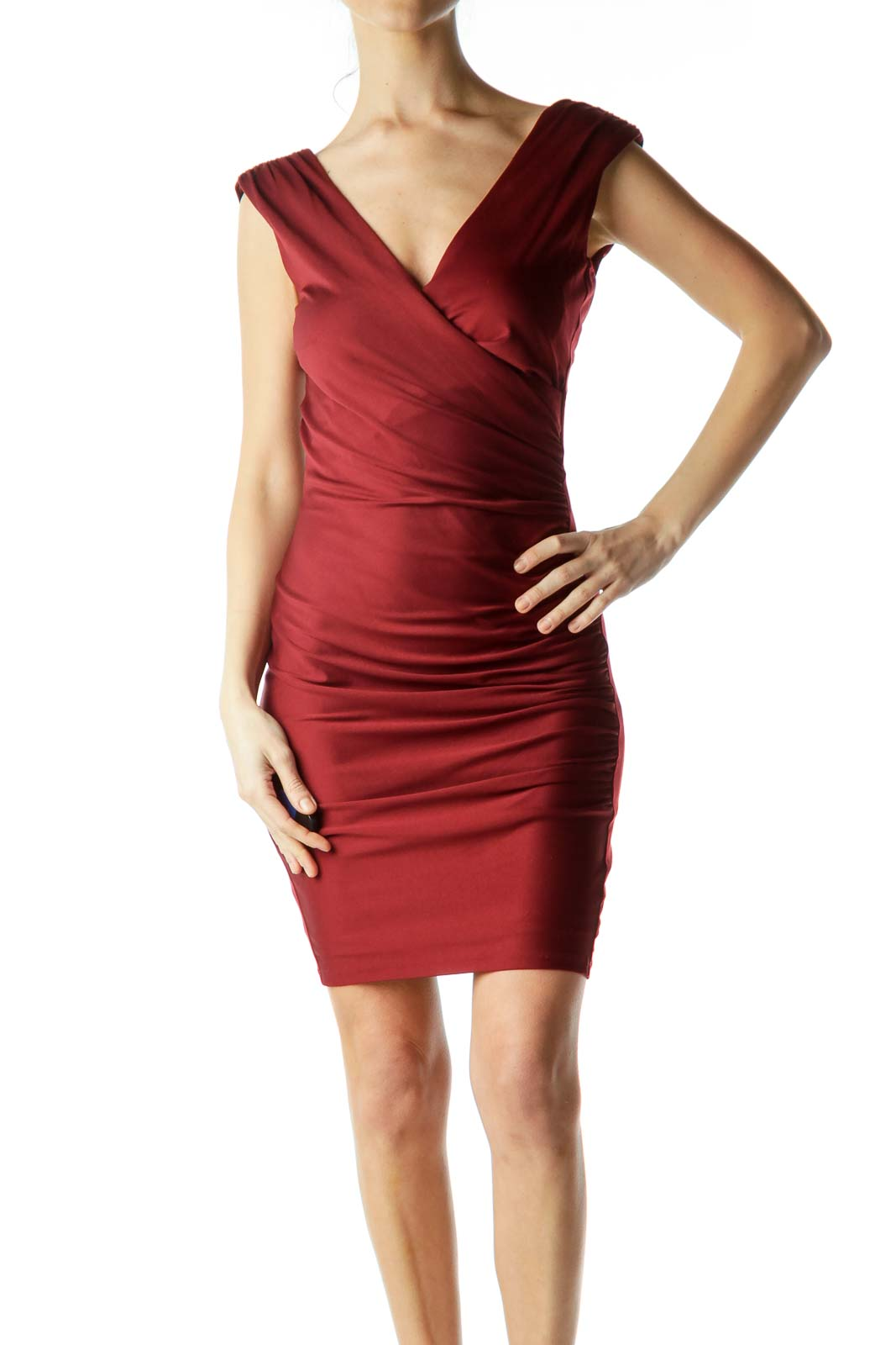 Red Sleeveless Ruched Bodycon Dress Front