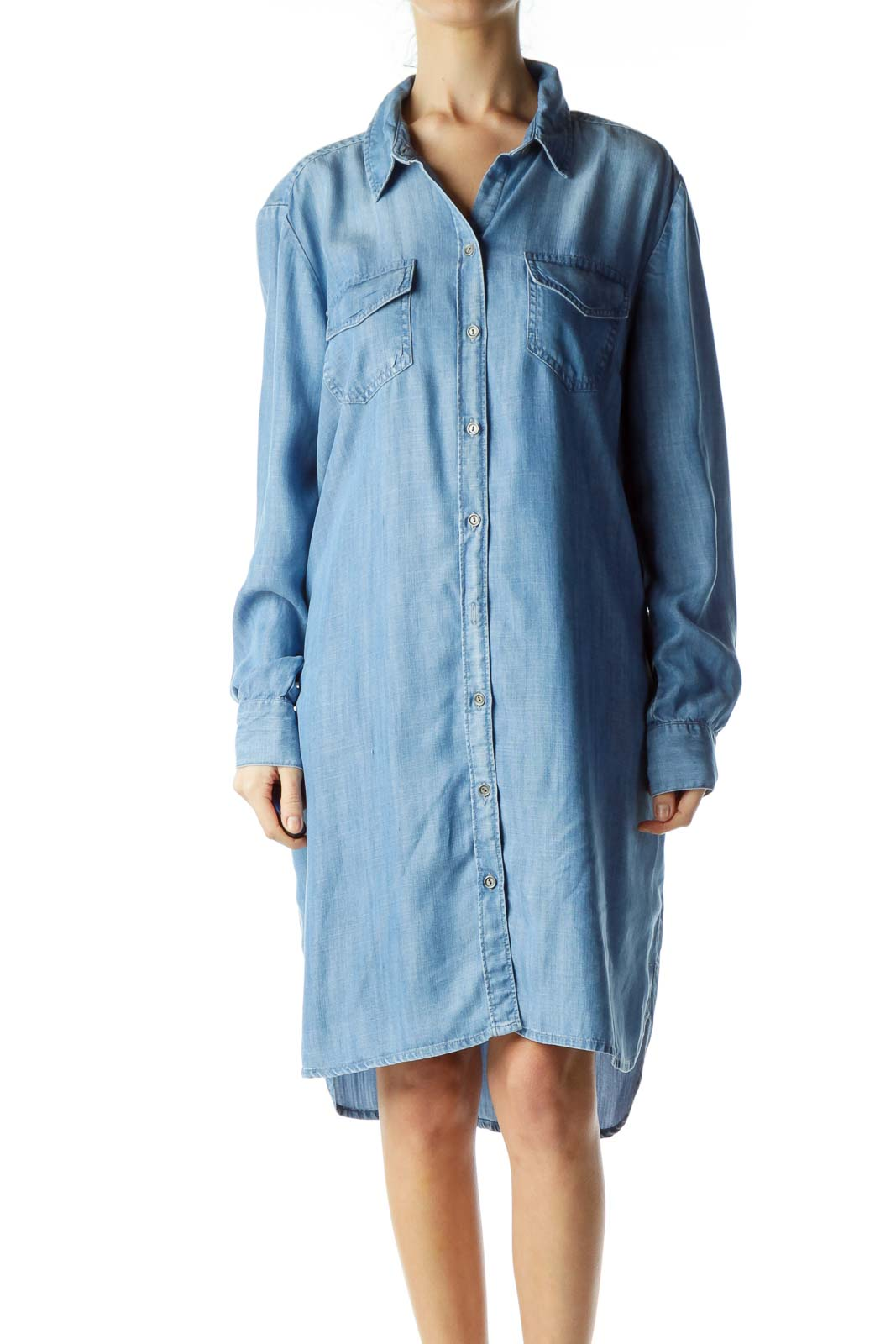 Blue Buttoned Long Sleeve Denim Dress Front