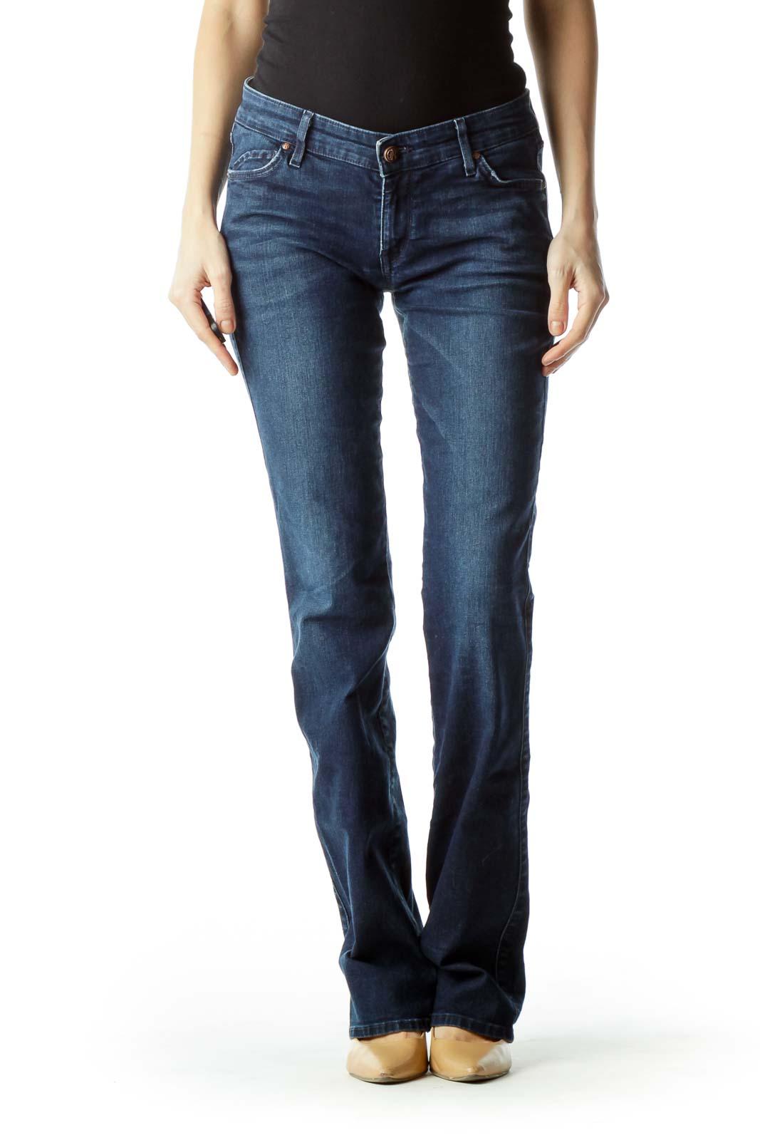 Blue Straight-Leg Denim Jeans Front