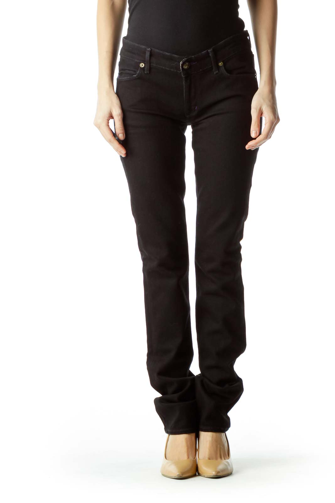 Black Straight-Leg Pants Front