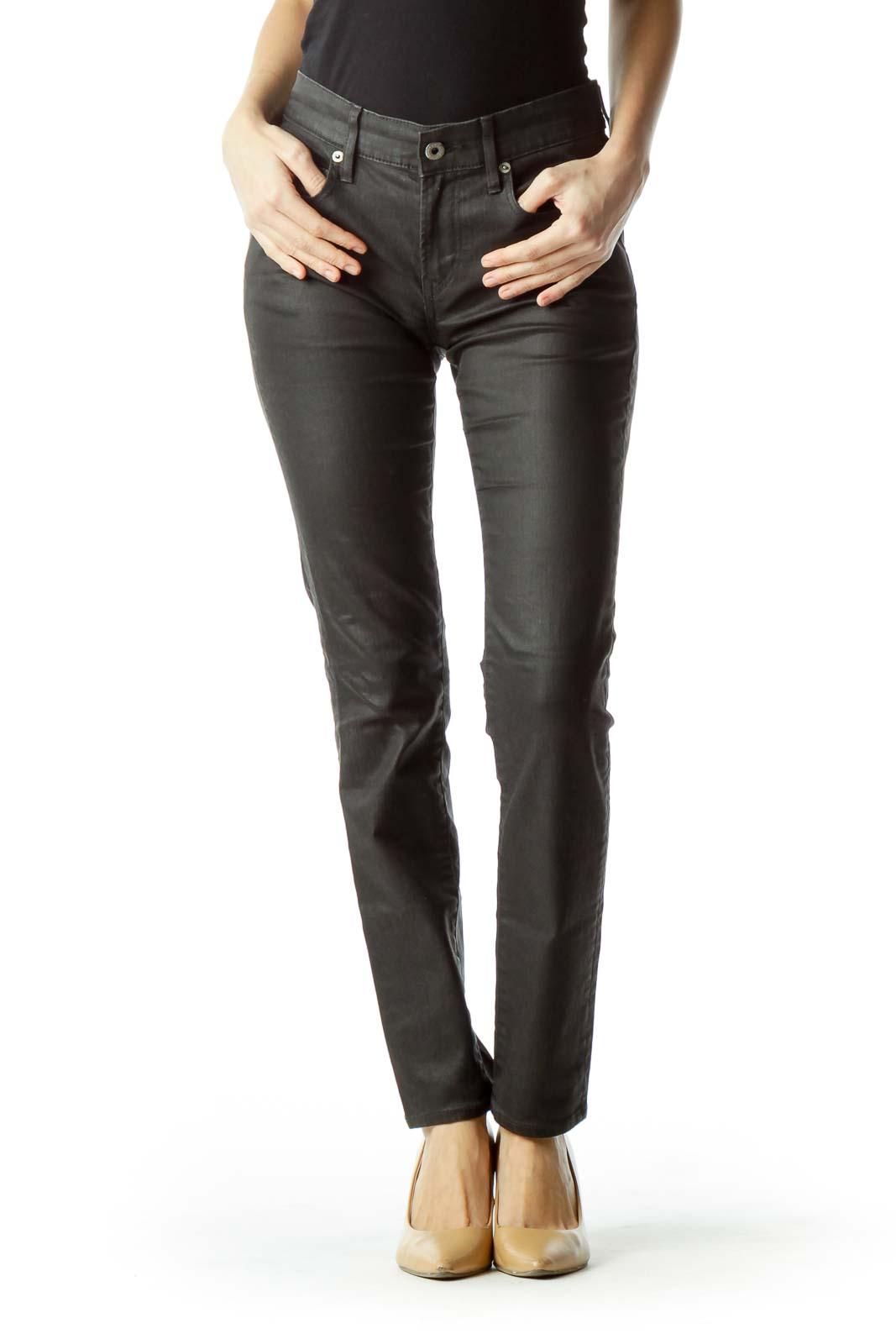 Black Slim Denim Pants Front