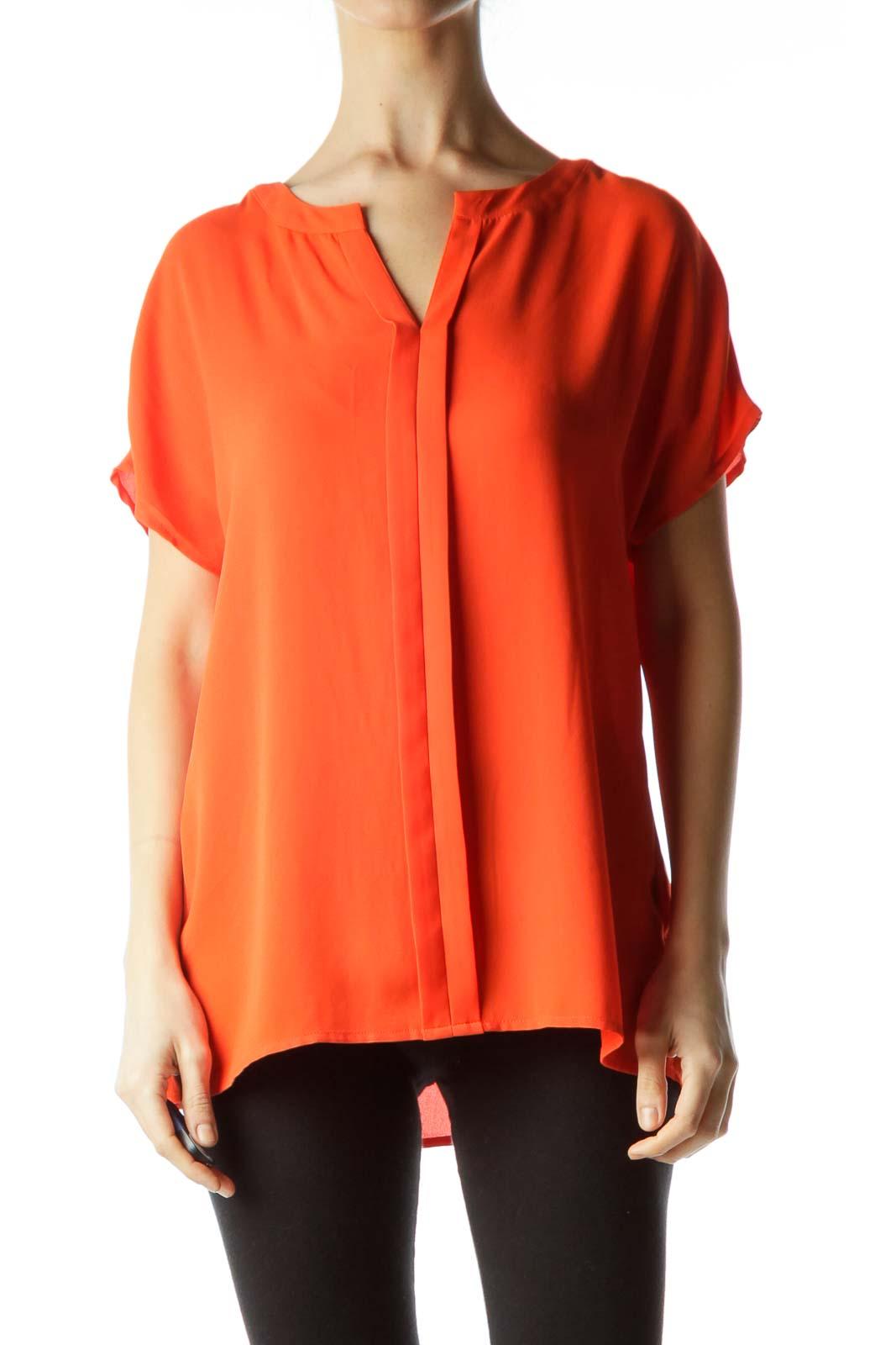 Orange Round Neck Short Sleeve Blouse Front