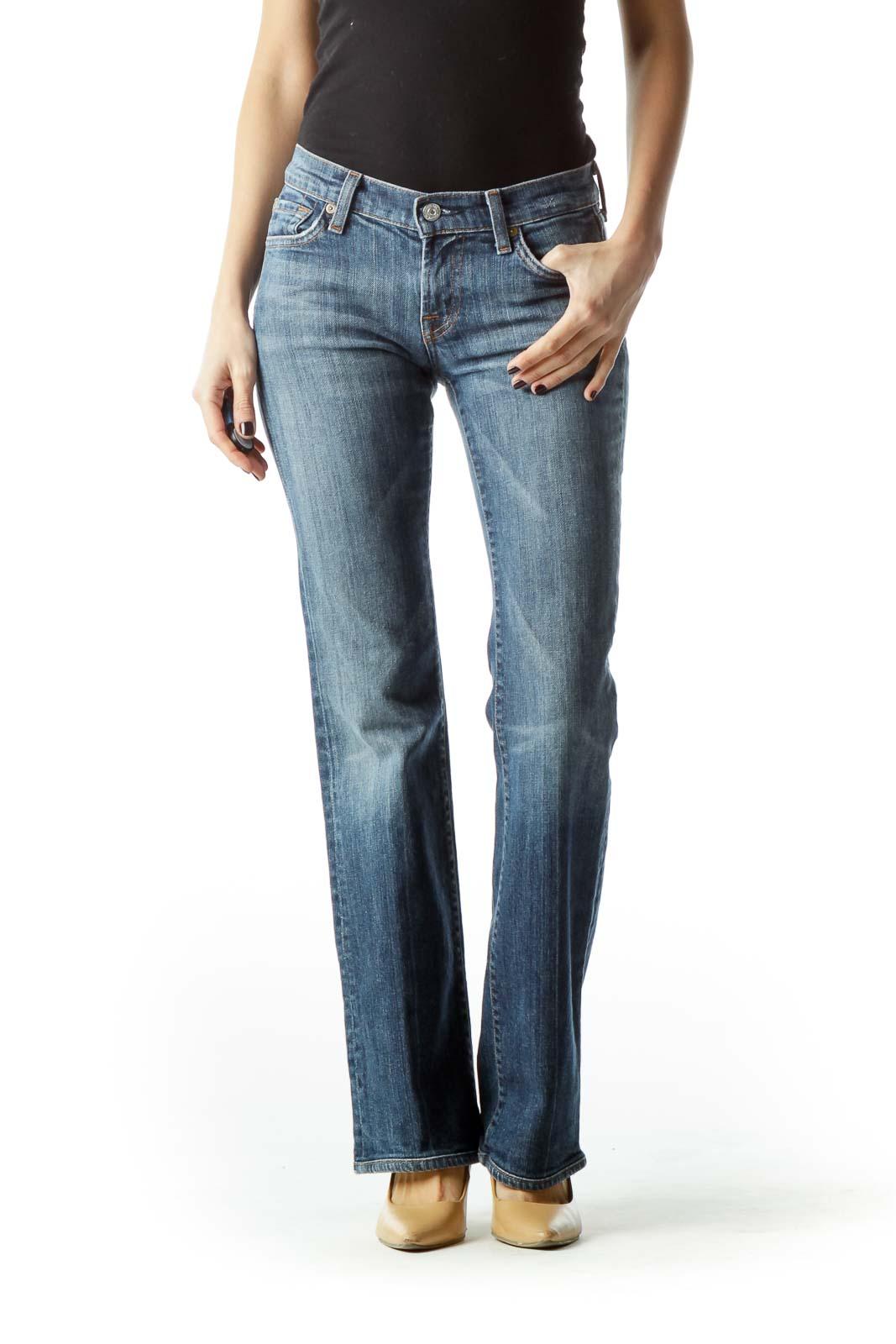 Blue Denim Flared Jeans Front