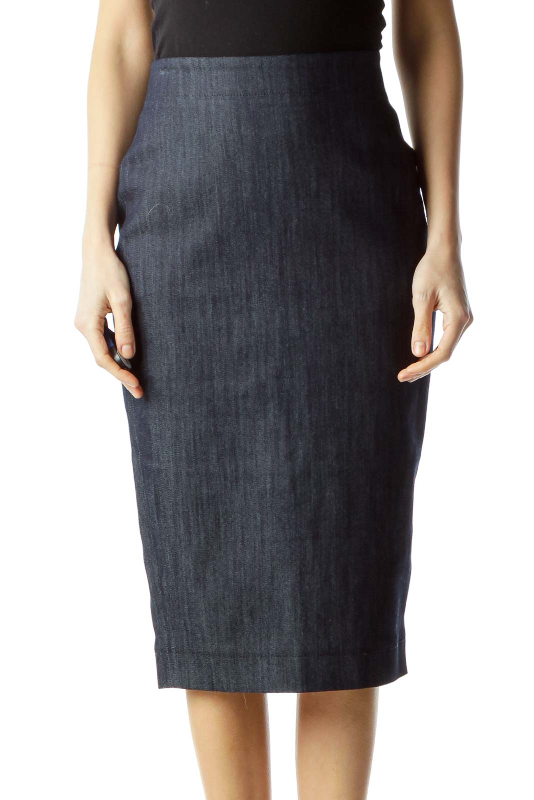 Blue Denim Midi Pencil Skirt Front