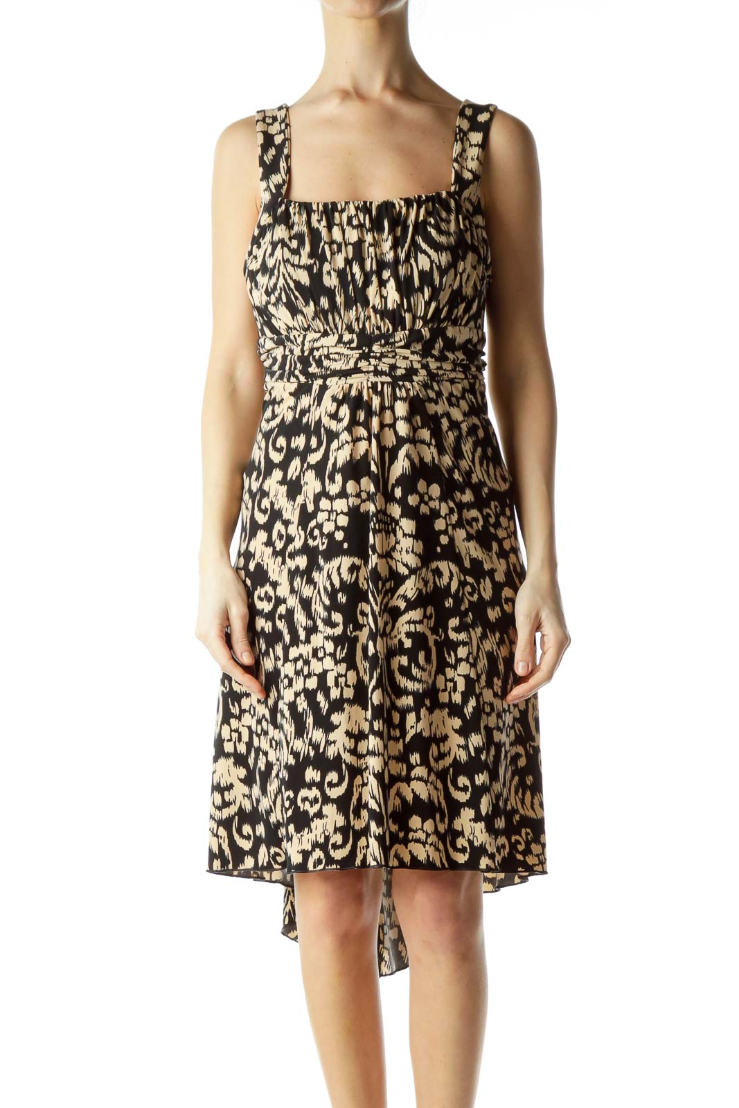 Black Beige Printed Elastic Day Dress Front