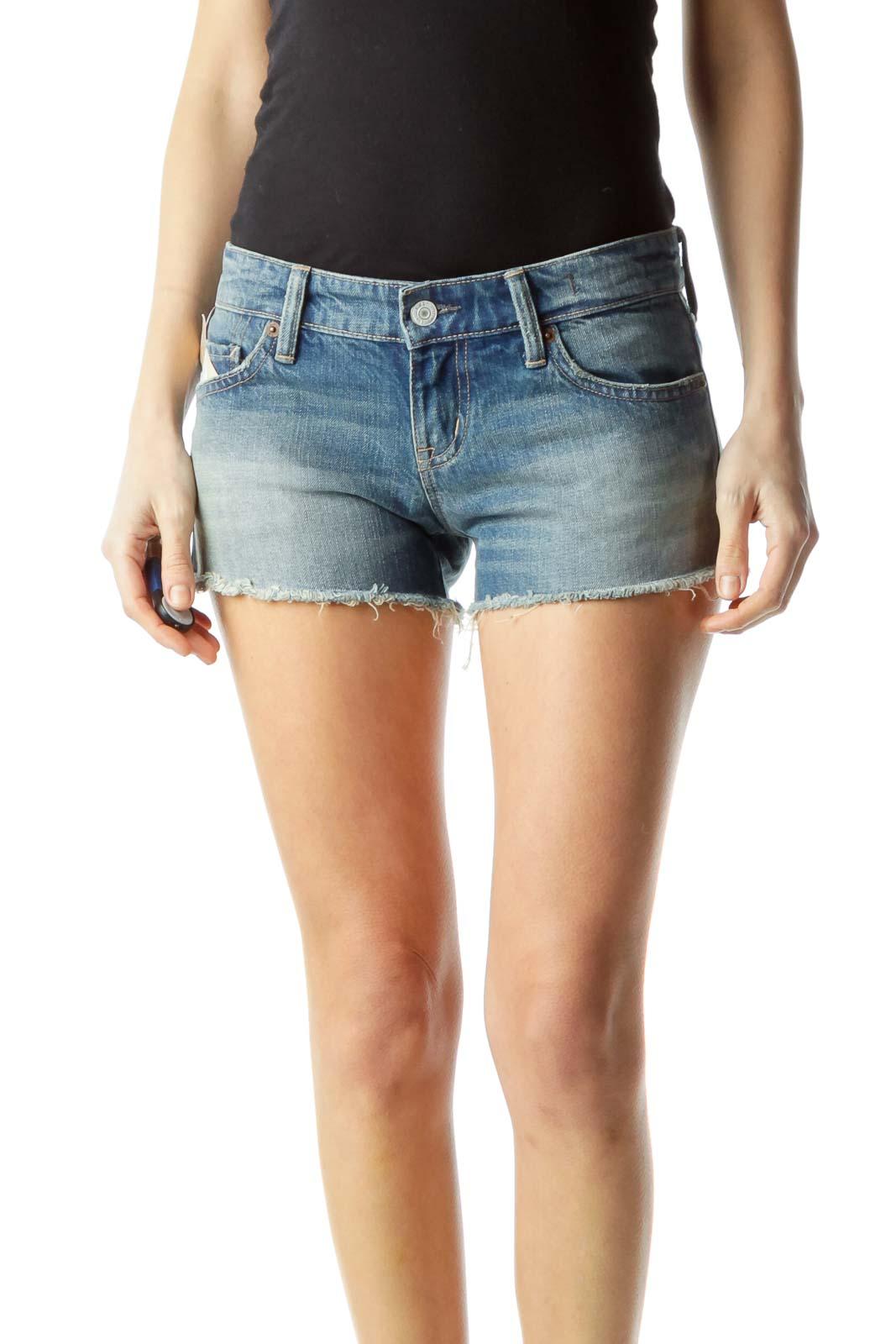 Blue 100% Cotton Denim Shorts Front