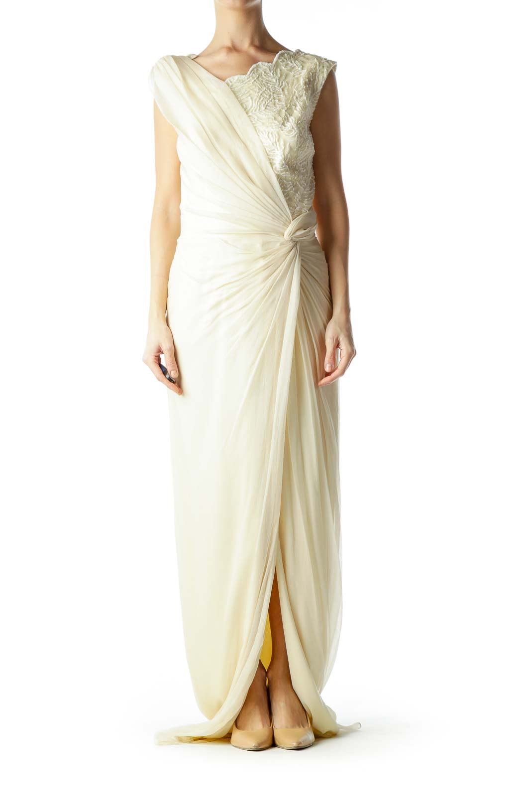 Cream Beaded Silk Embroidered Evening Gown Front
