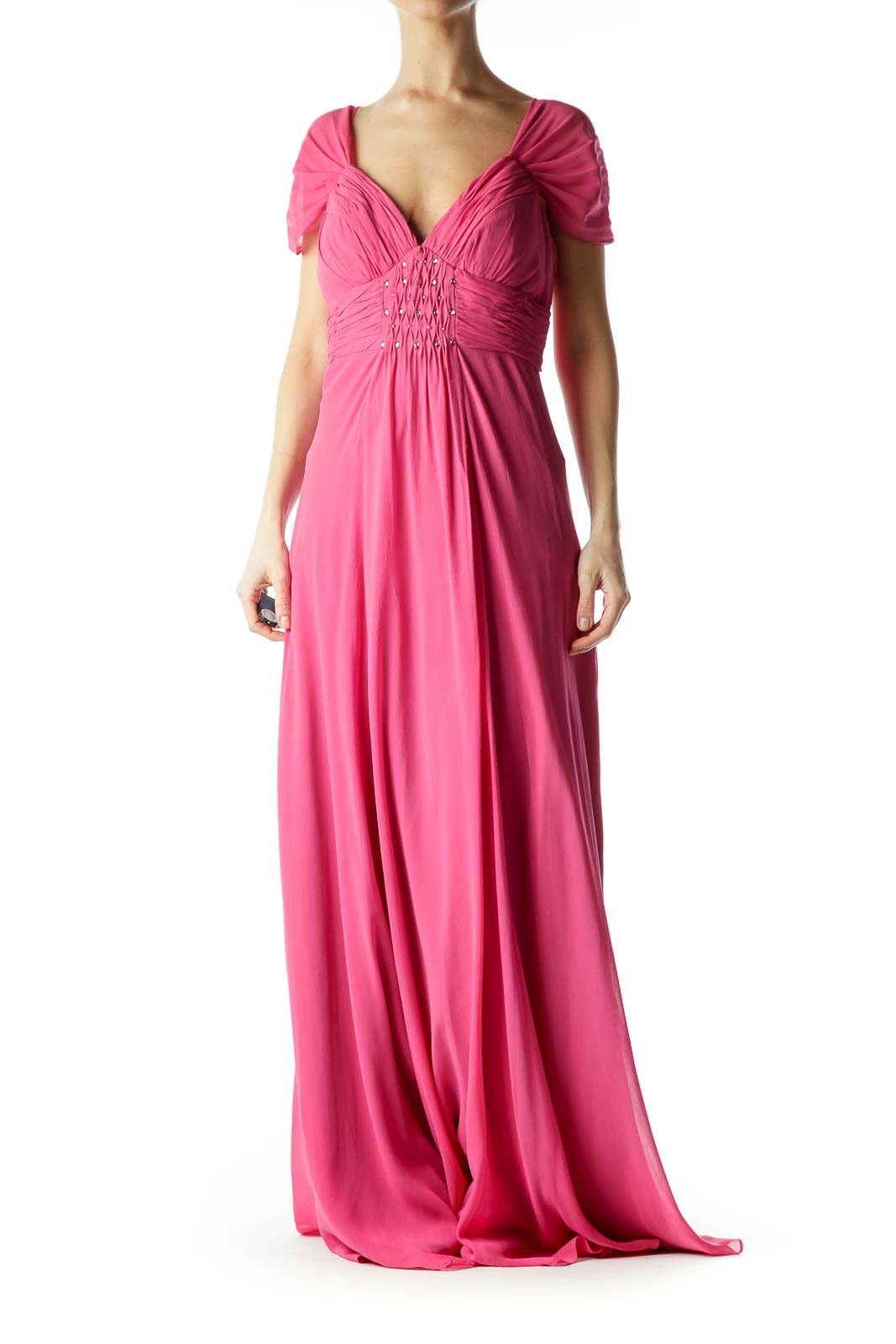 Pink Beaded Silk Evening Gown Front