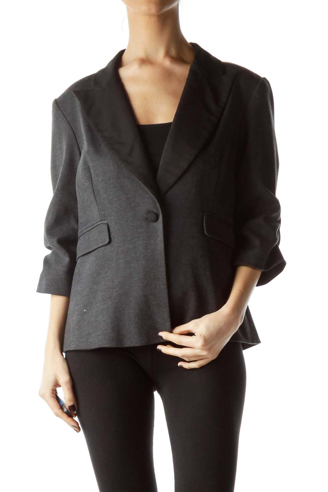 Black Dark Gray 3/4 Sleeves Pocketed Blazer Front