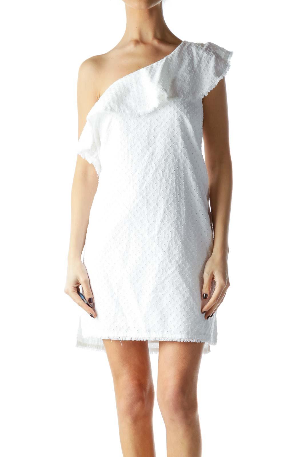 White One-Shoulder Knit Dress Front