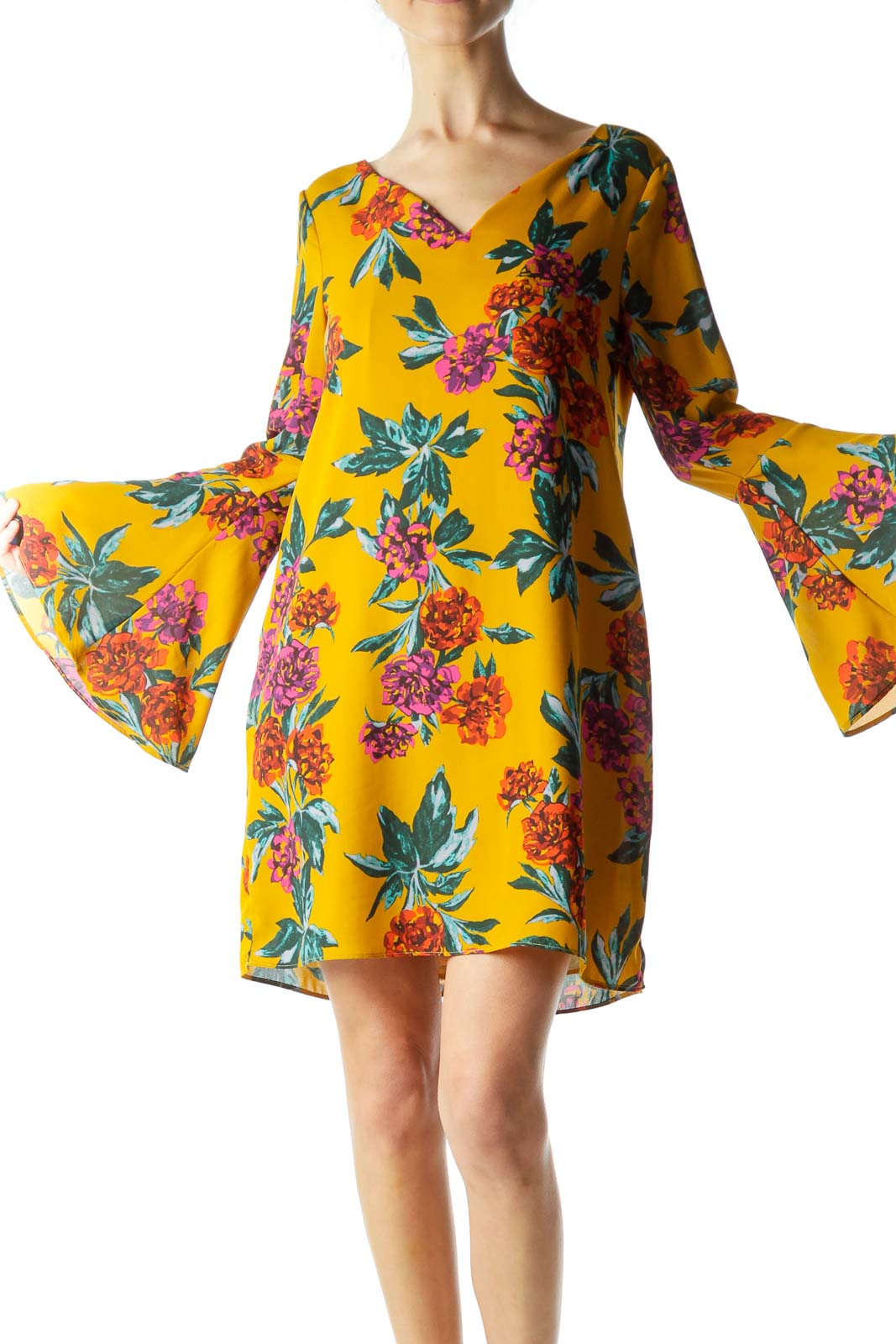 Mustard Yellow Floral Print Shift Dress Front