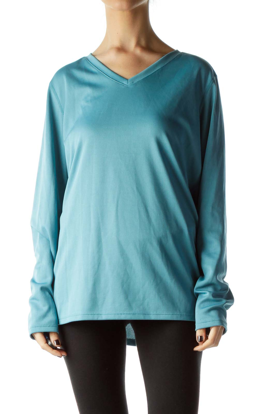 Teal Long Sleeve Stretch Sports Top Front