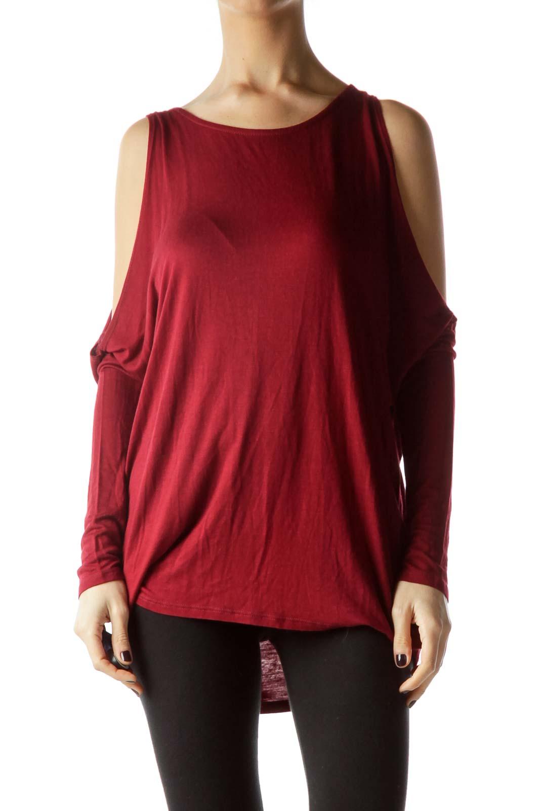 Burgundy Cold-Shoulder Stretch Blouse Front