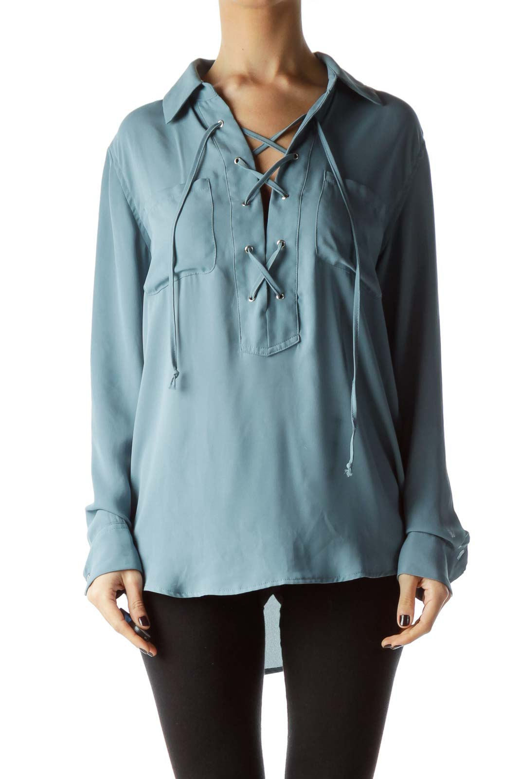 Teal Blue Front Drawstring Long Sleeve Blouse Front