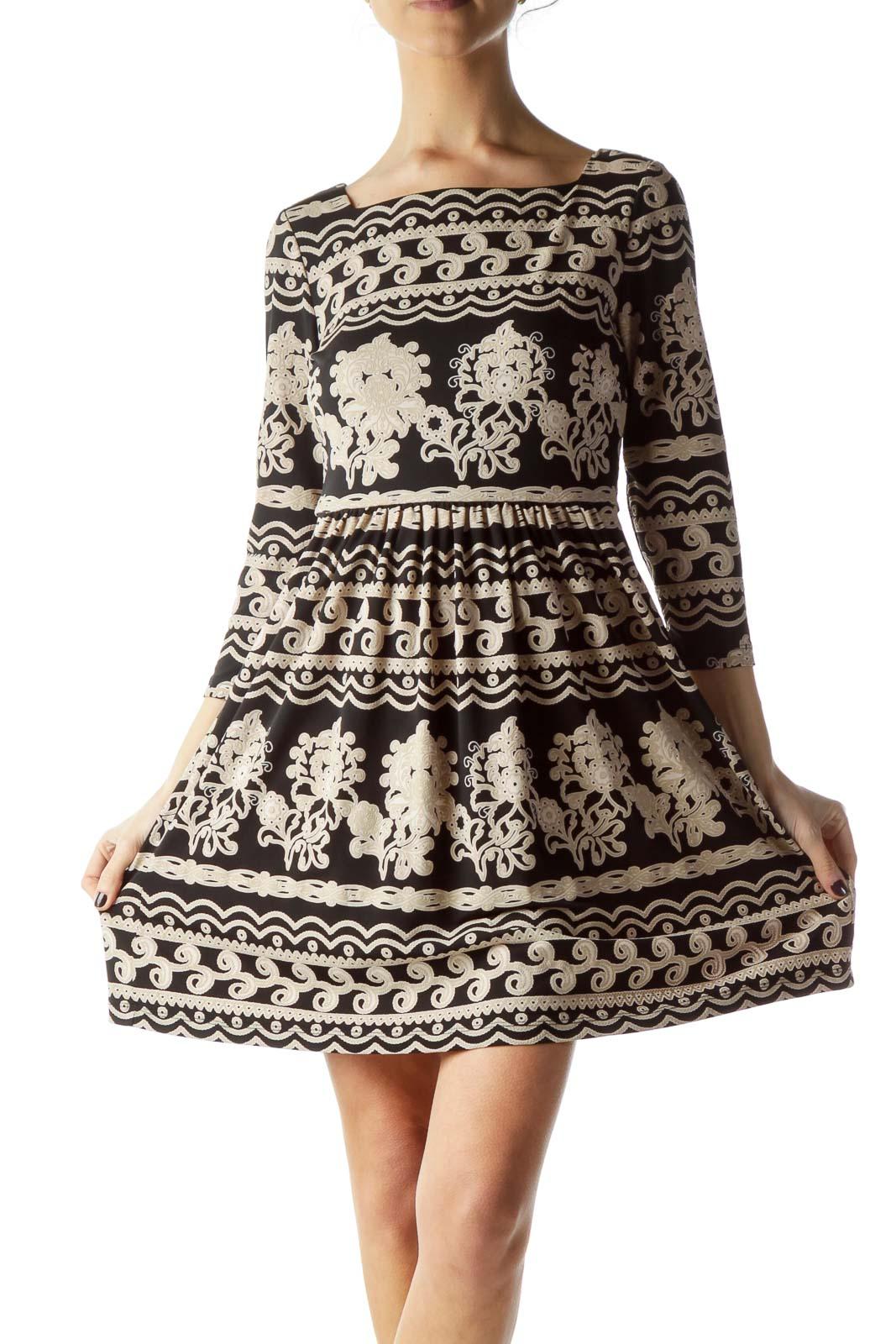 Black Beige Print 3/4 Sleeve Dress Front