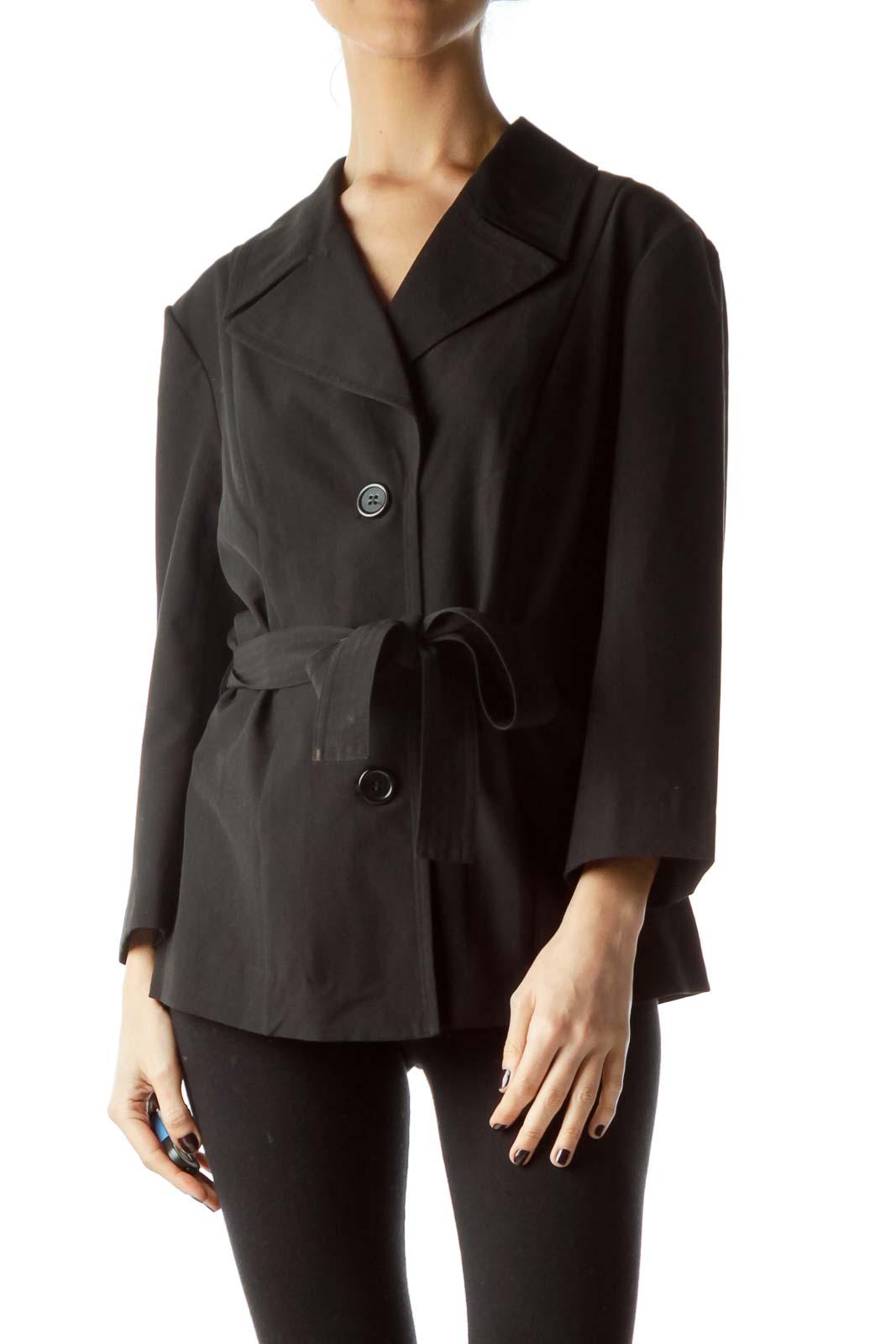 Black Buttoned Belted 3/4 Sleeve Light Blazer Front