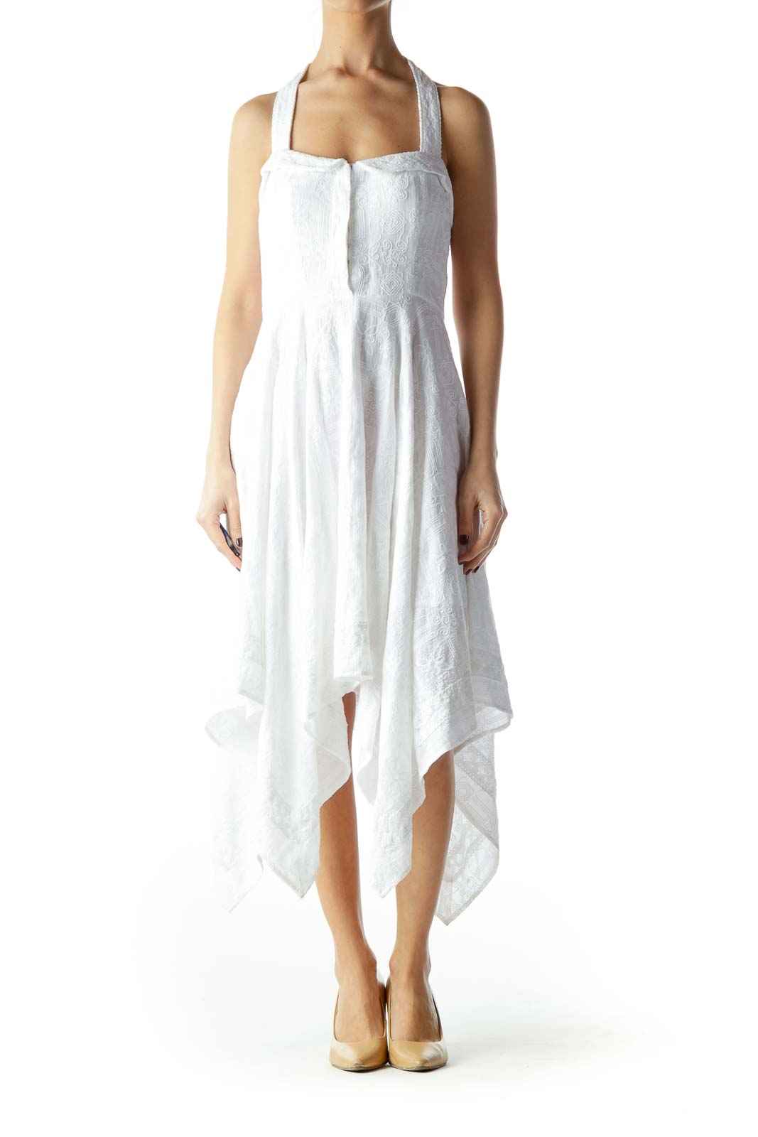 White 100% Cotton Flared Waterfall Day Dress Front