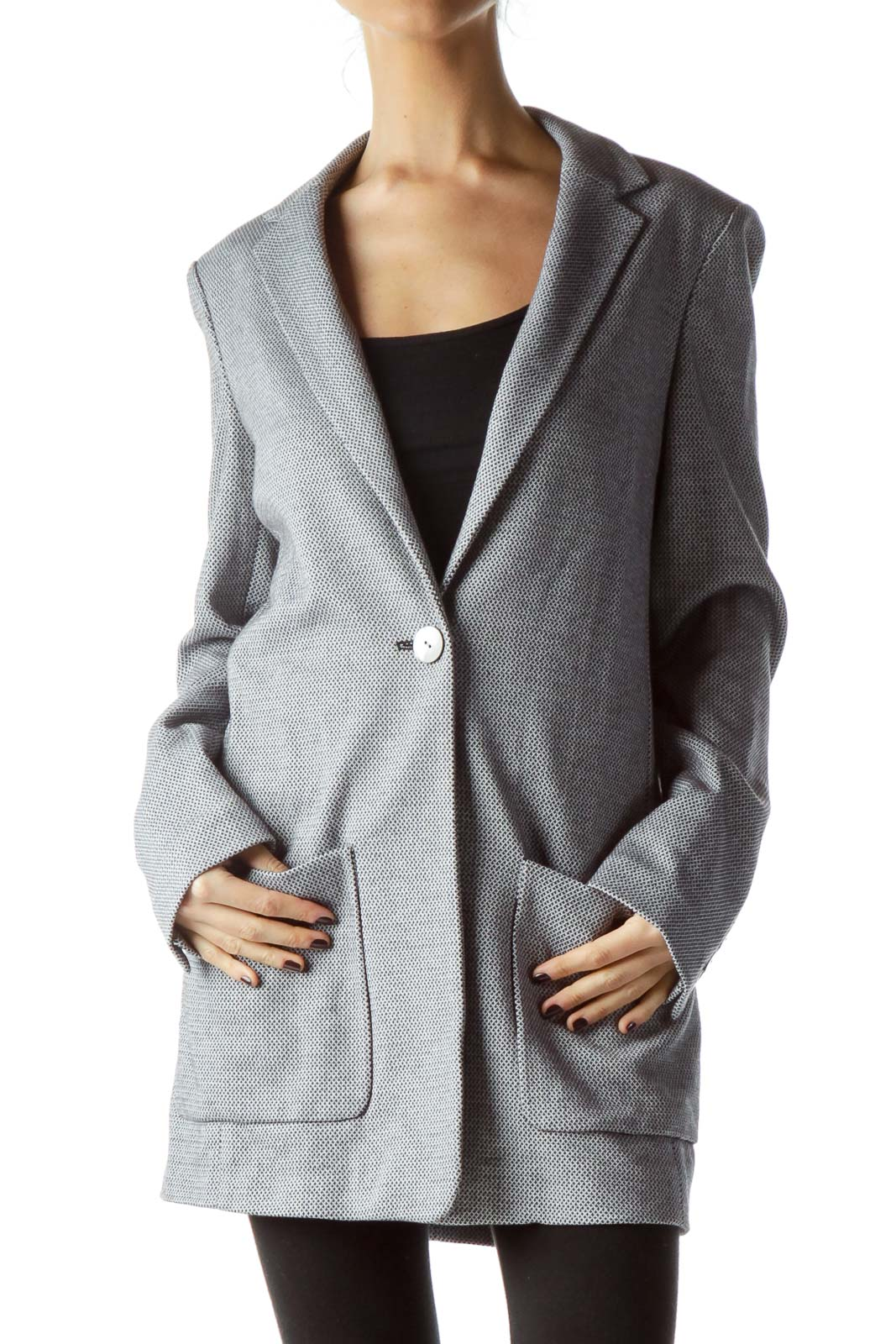 Gray Textured 100% Cotton Long Blazer Front