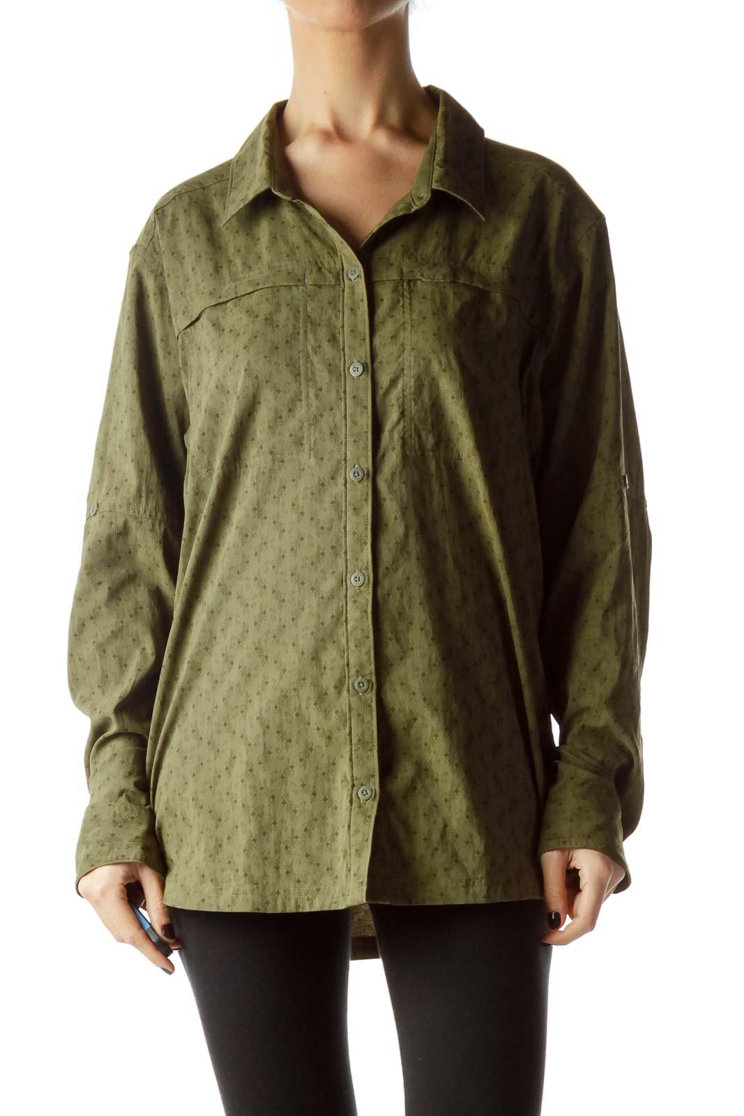 Army Green Small Geometric Print Shirt Front