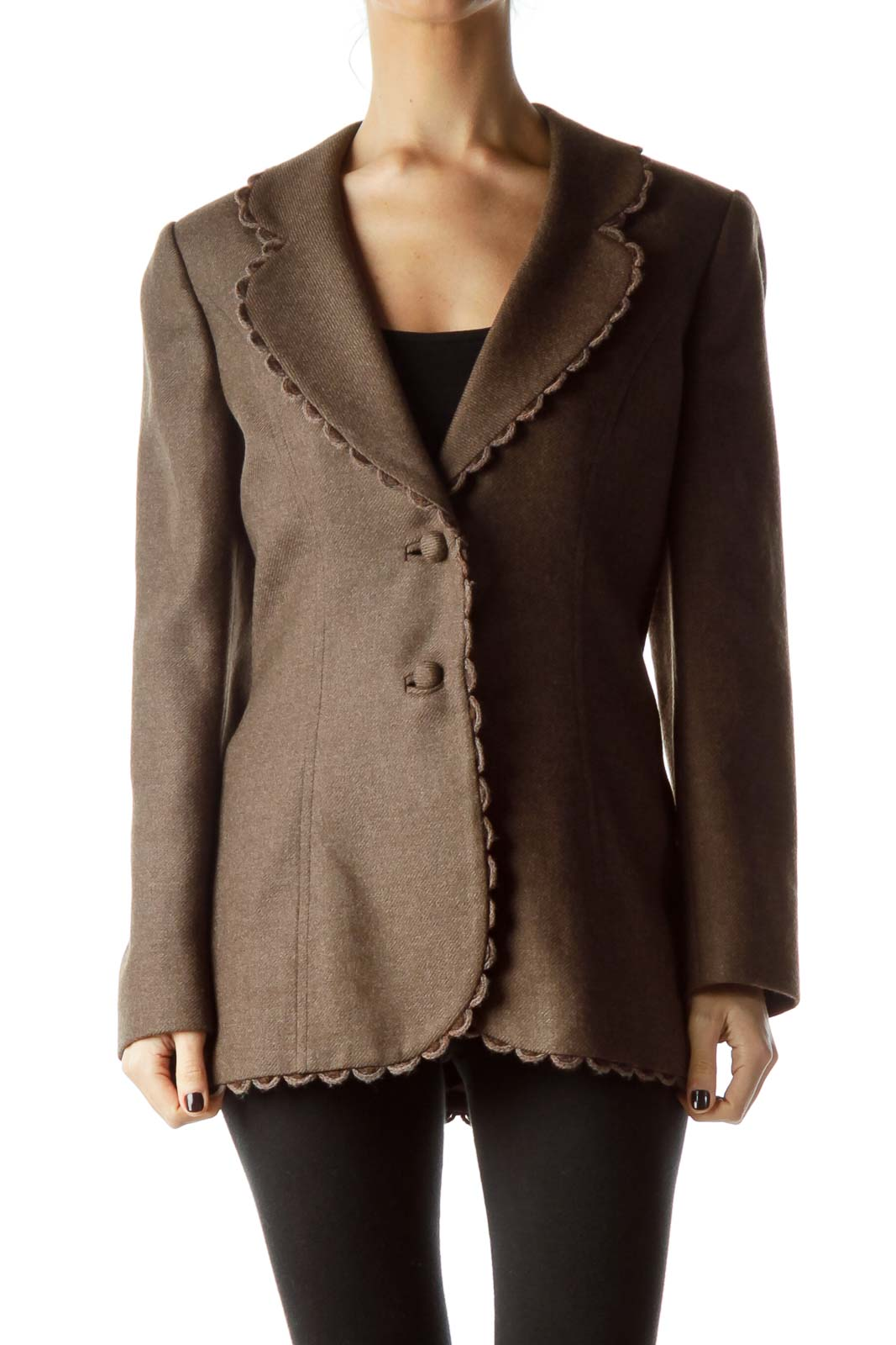 Brown Collared Buttoned Tweed Jacket Front