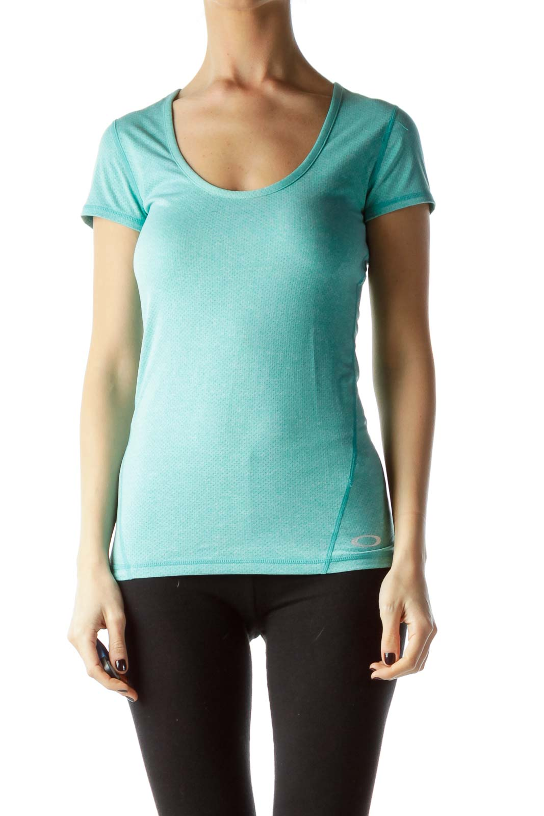 Teal Blue Short Sleeve Stretchy Sports Top Front