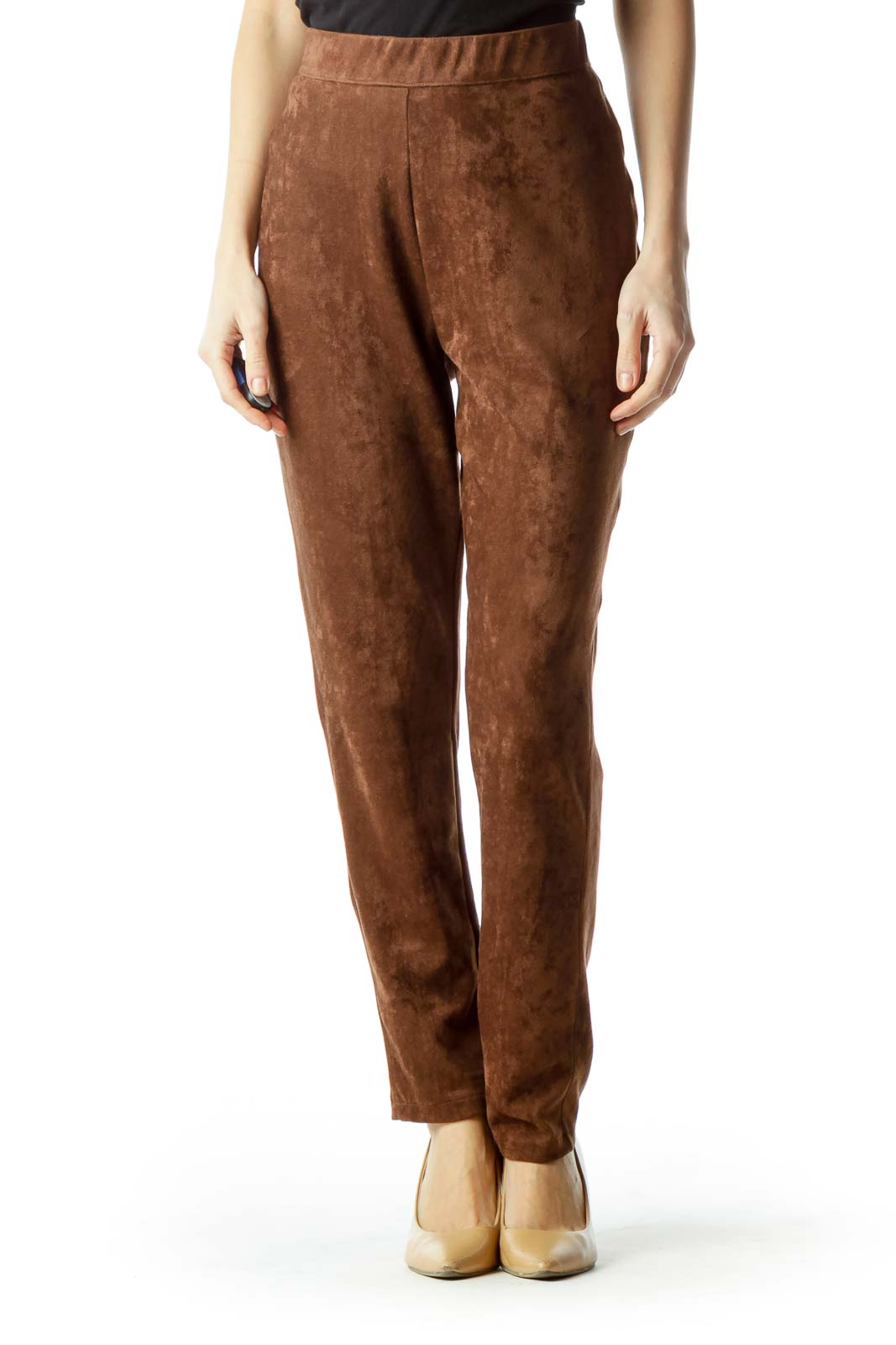 Brown Faux Suede Skinny Pants Front