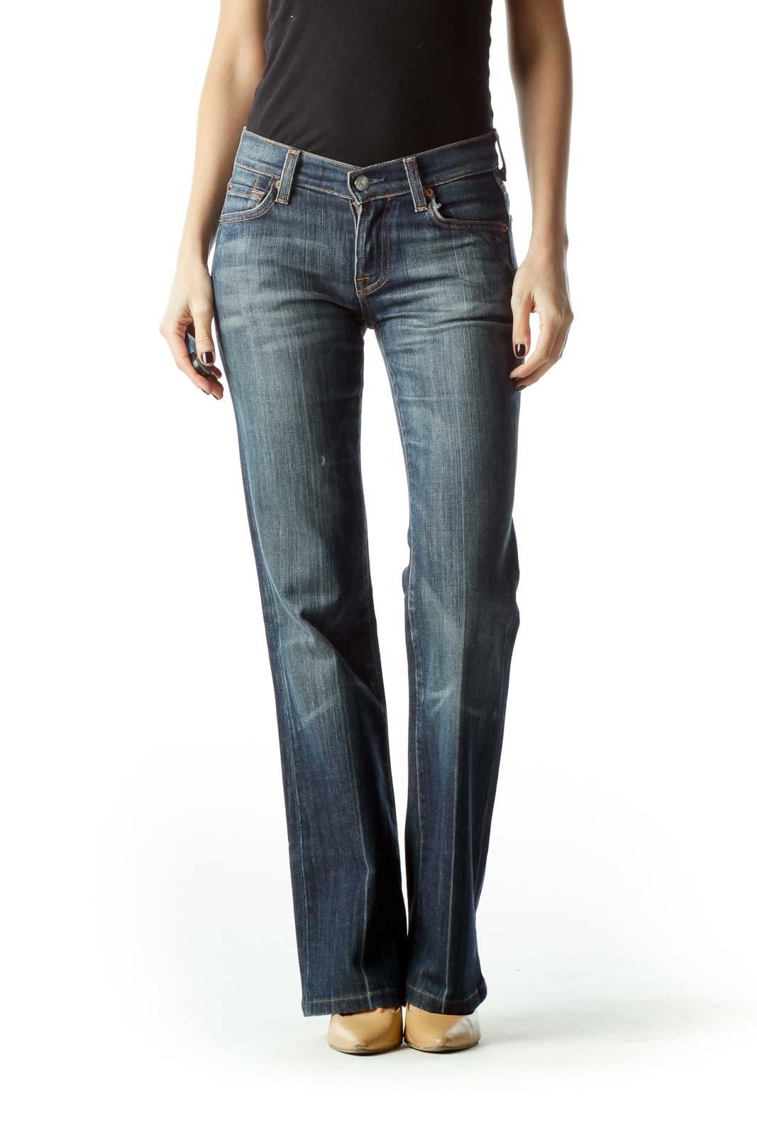 Blue Medium-Wash Flared Denim Jeans Front