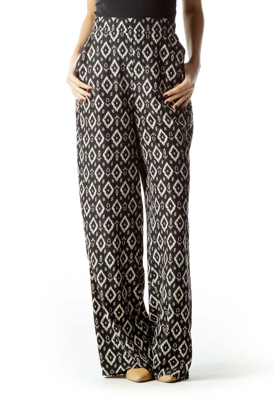 Black Beige Geometric Print Pants Front