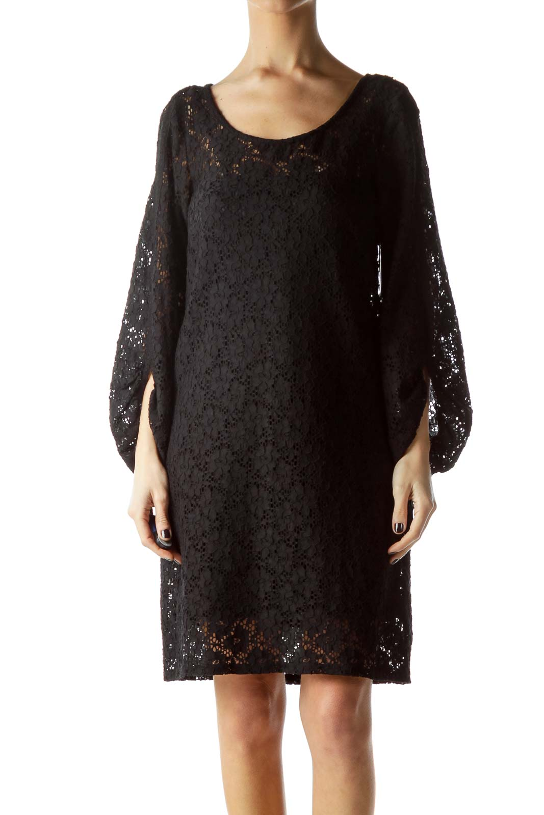 Black Knit Long Sleeve Dress with Slip Front