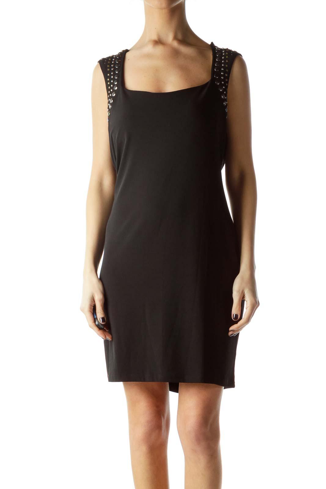 Black Stretch Metallic Neck Embellished Dress Front