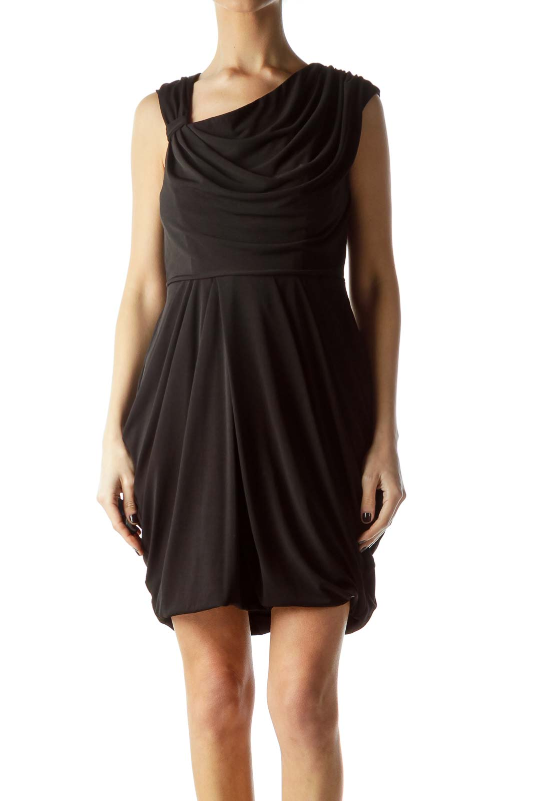 Black Elastic Stretch Cocktail Dress Front