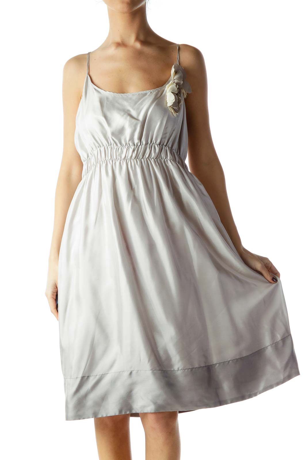Gray Cream Side Flower Detail 100% Silk Dress Front