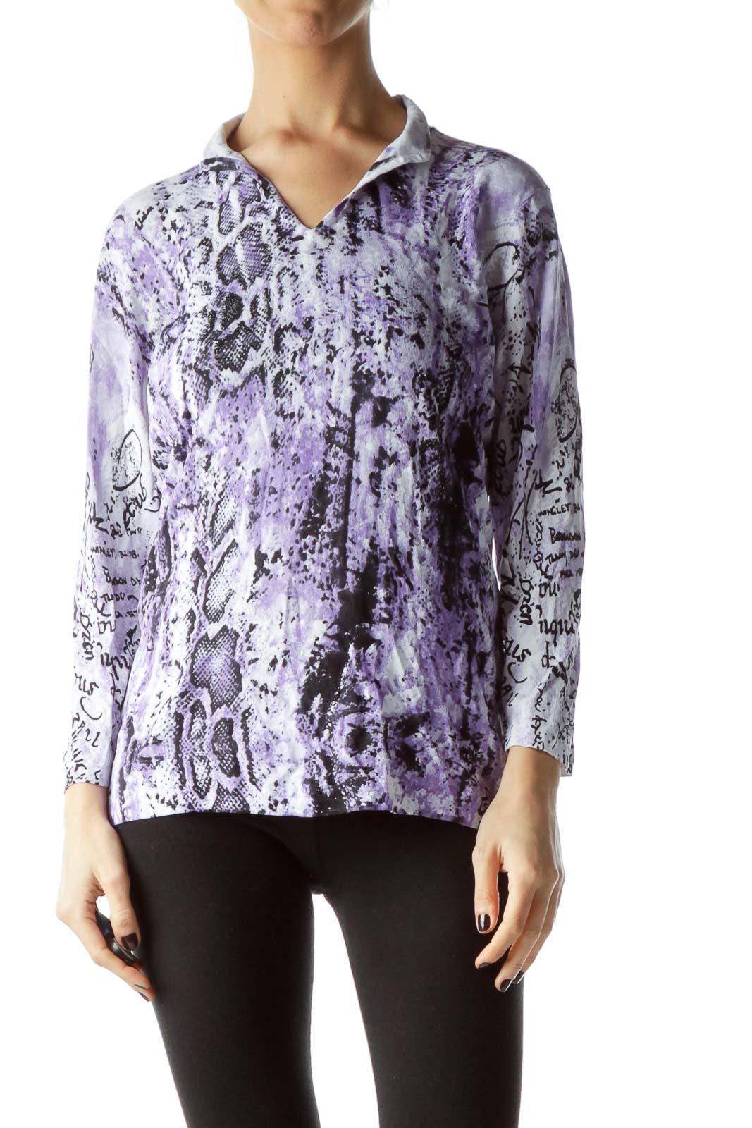 Purple Black Snakeskin Print Embellished Top Front