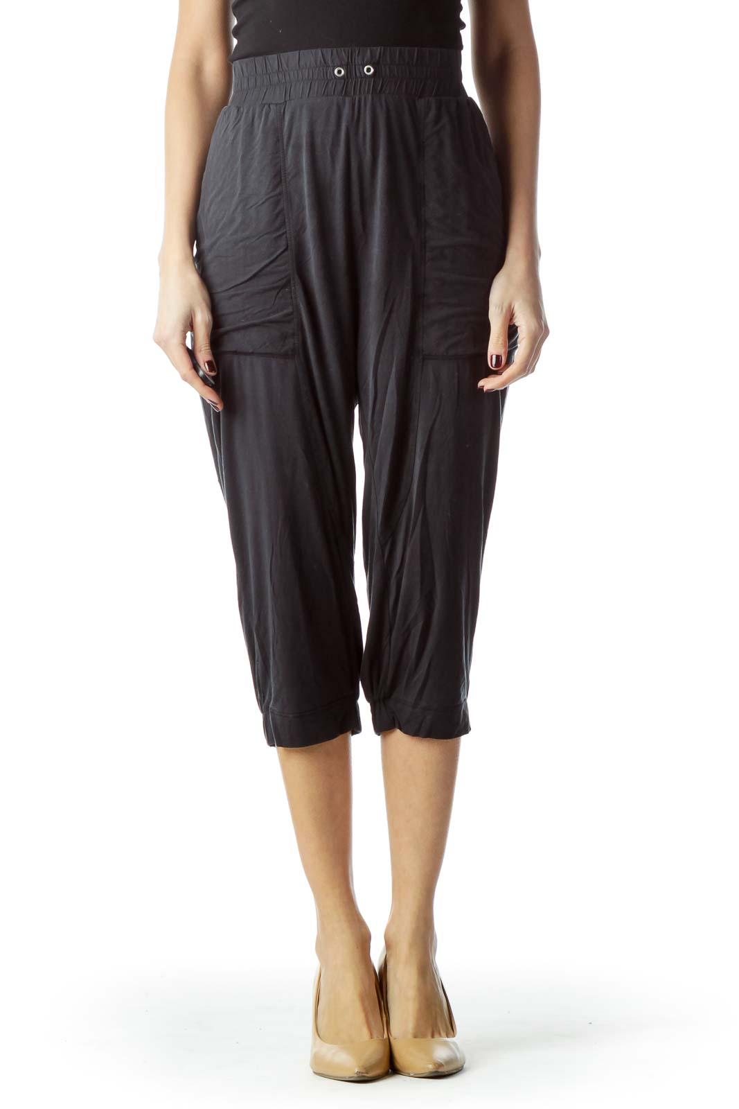 Washed Black Stretch Cropped Pants Front