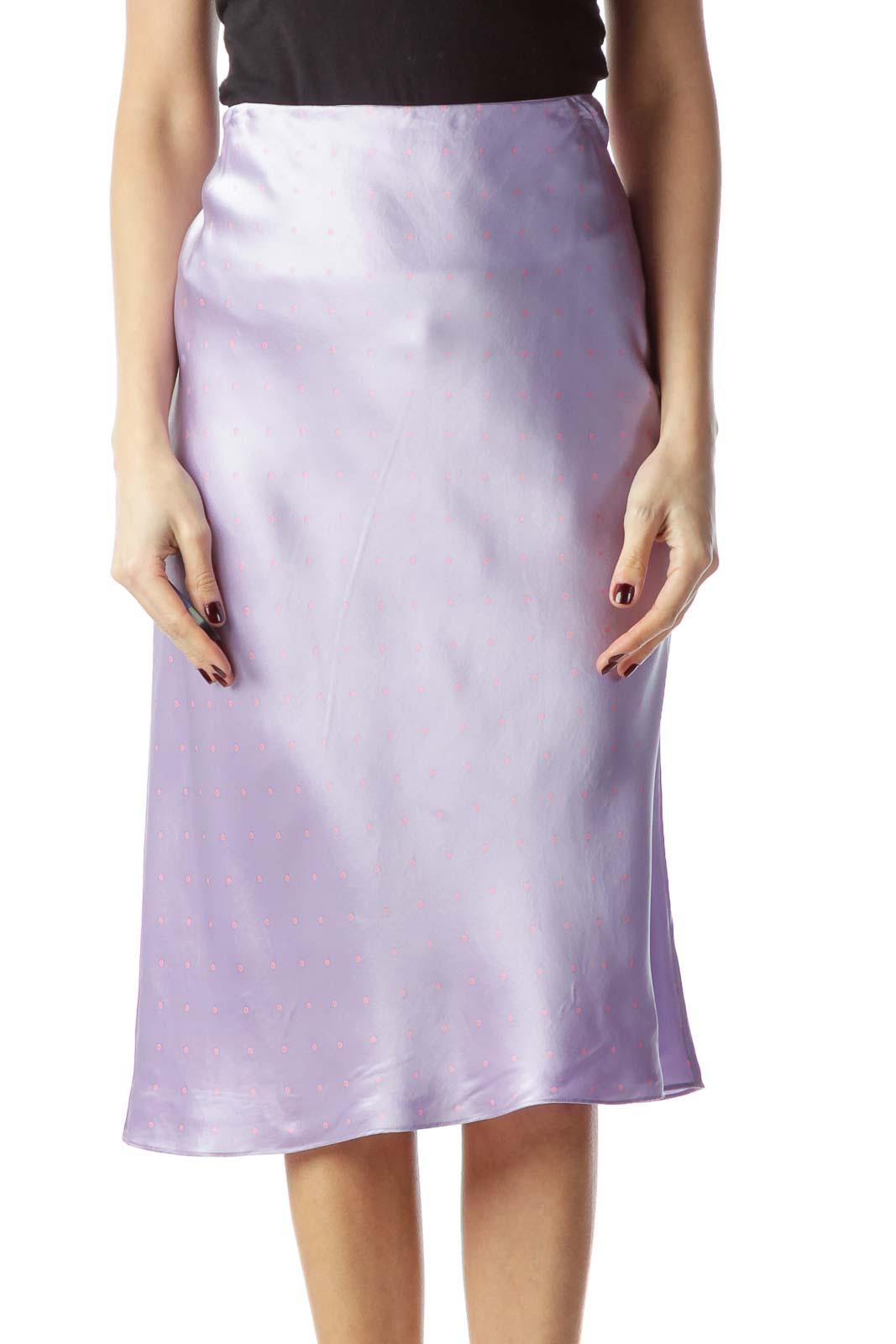 Lilac Pink Polka-Dot Midi Flared Silk Skirt Front