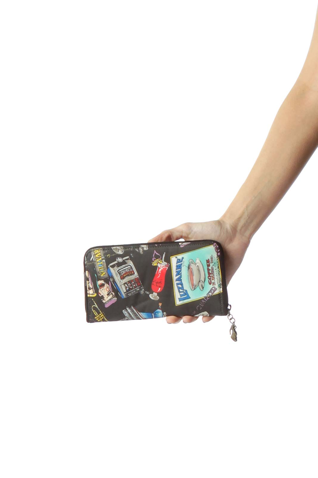 Black Multicolored Imagery Zippered Silk Wallet Front
