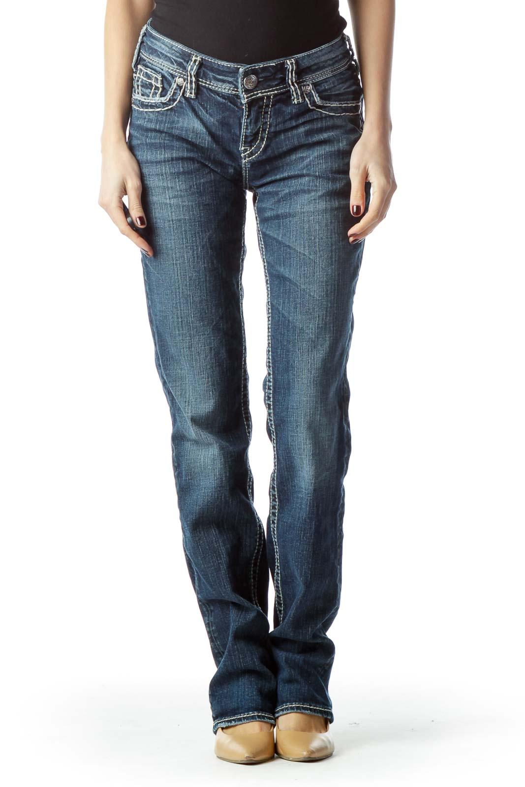 Blue Medium Wash Stitched Denim Jeans Front