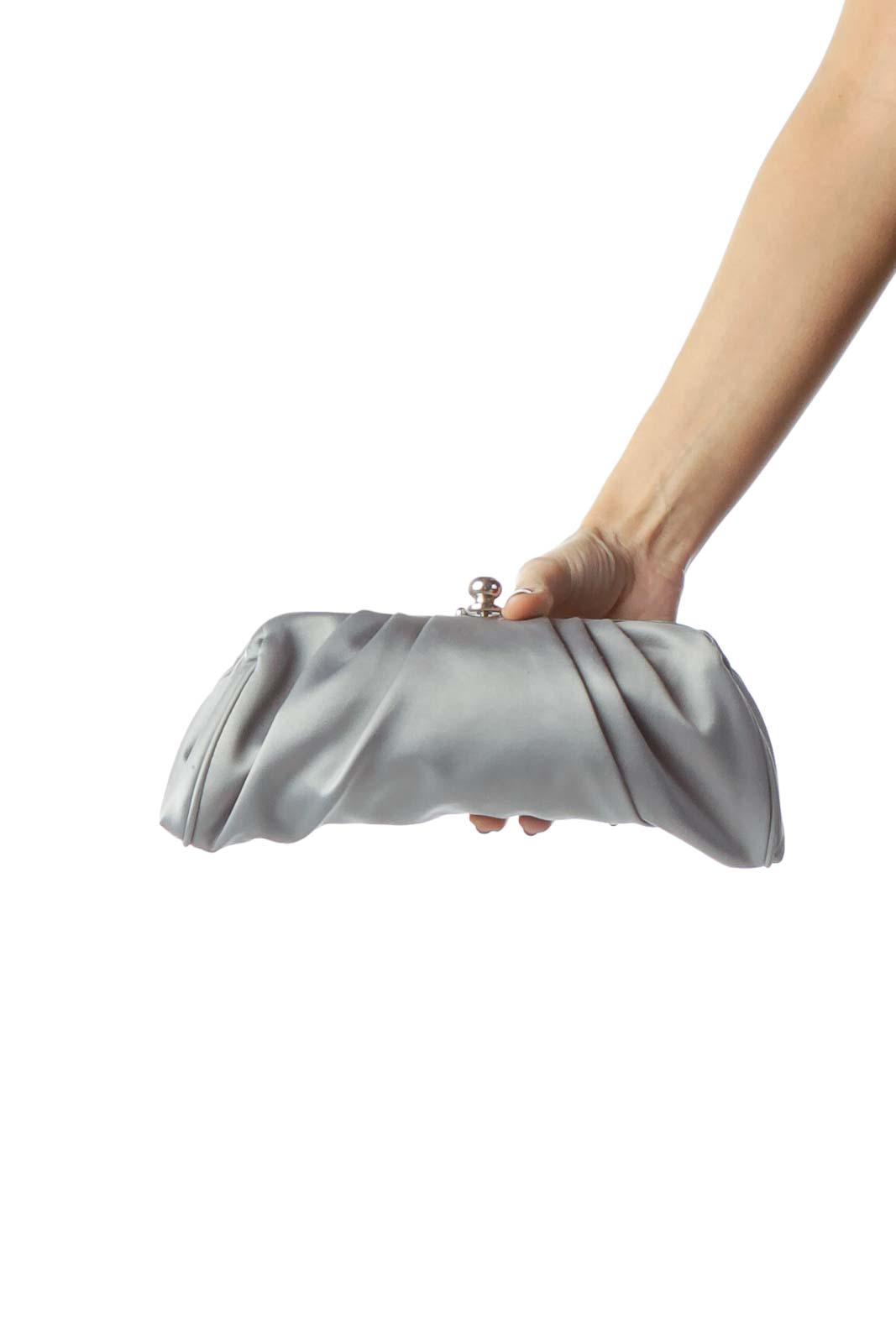 Gray Clutch with Metallic Closure and Strap Front