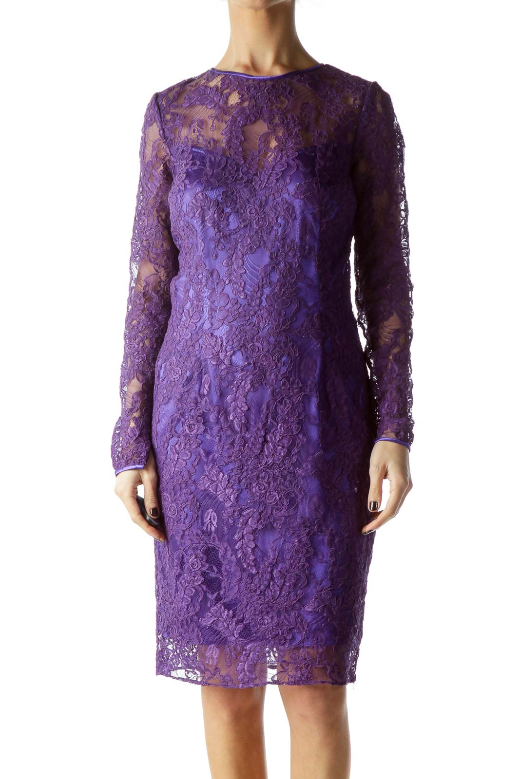Purple Lace Fitted Dress with Slip Front