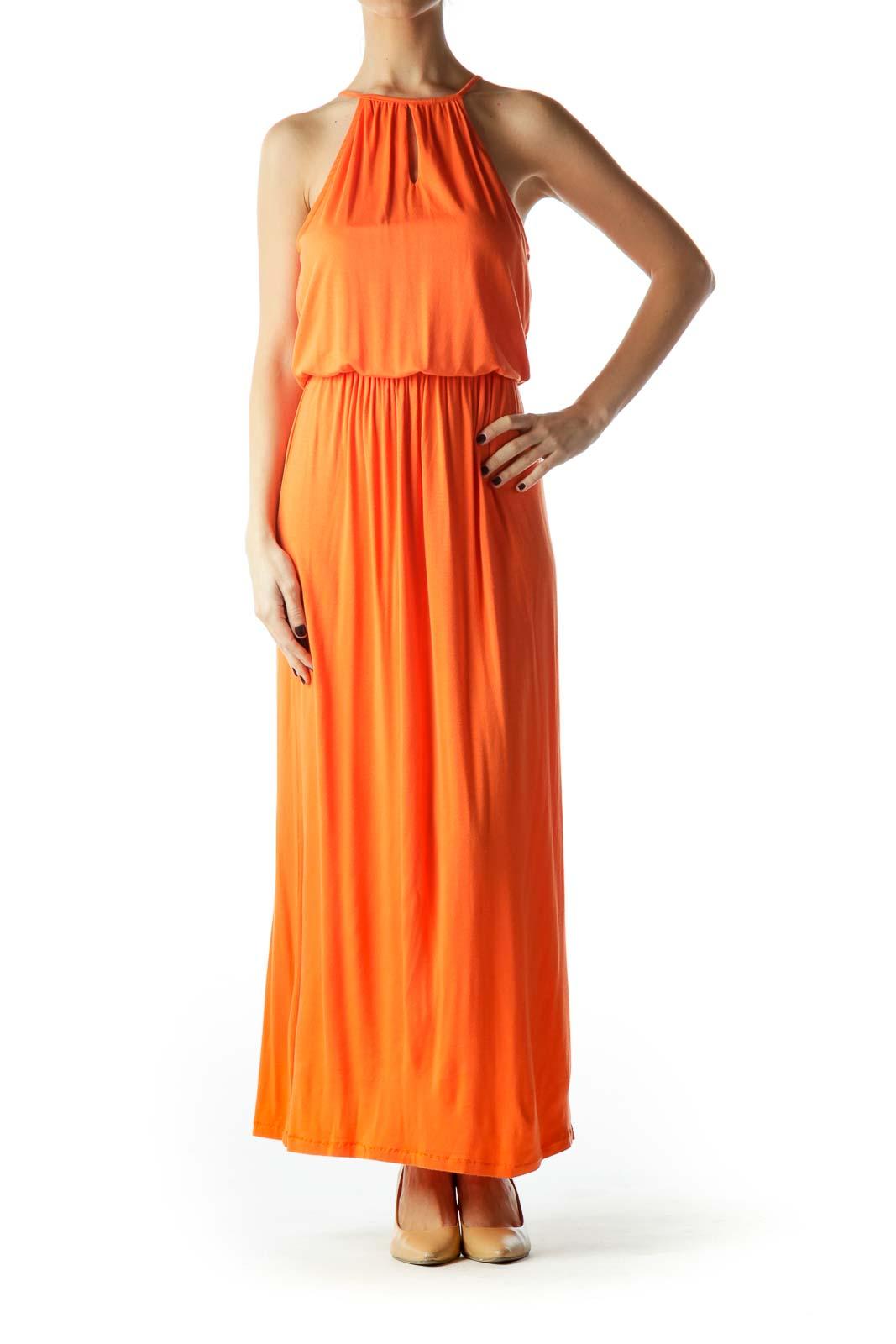 Orange Halter Neck Empire Waist Maxi Dress Front