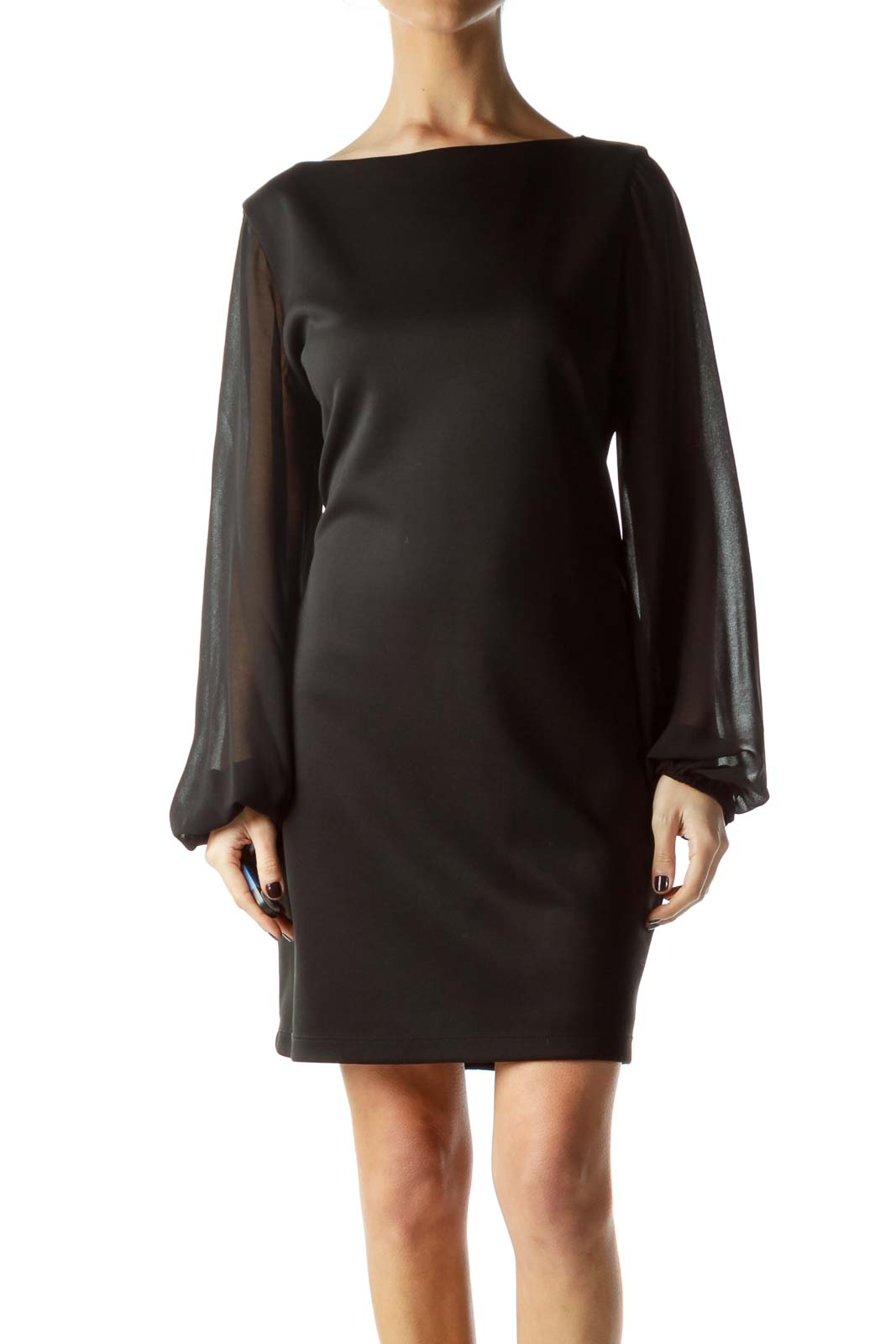 Black Dress with Long Sheer Sleeves Front