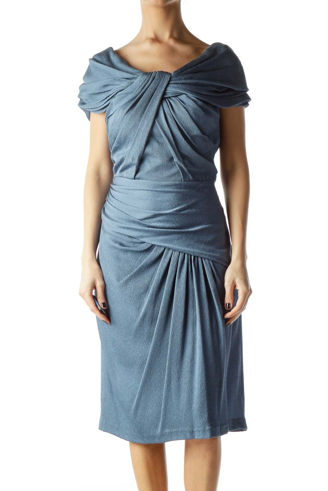Blue Strapless Scrunched Dress Front
