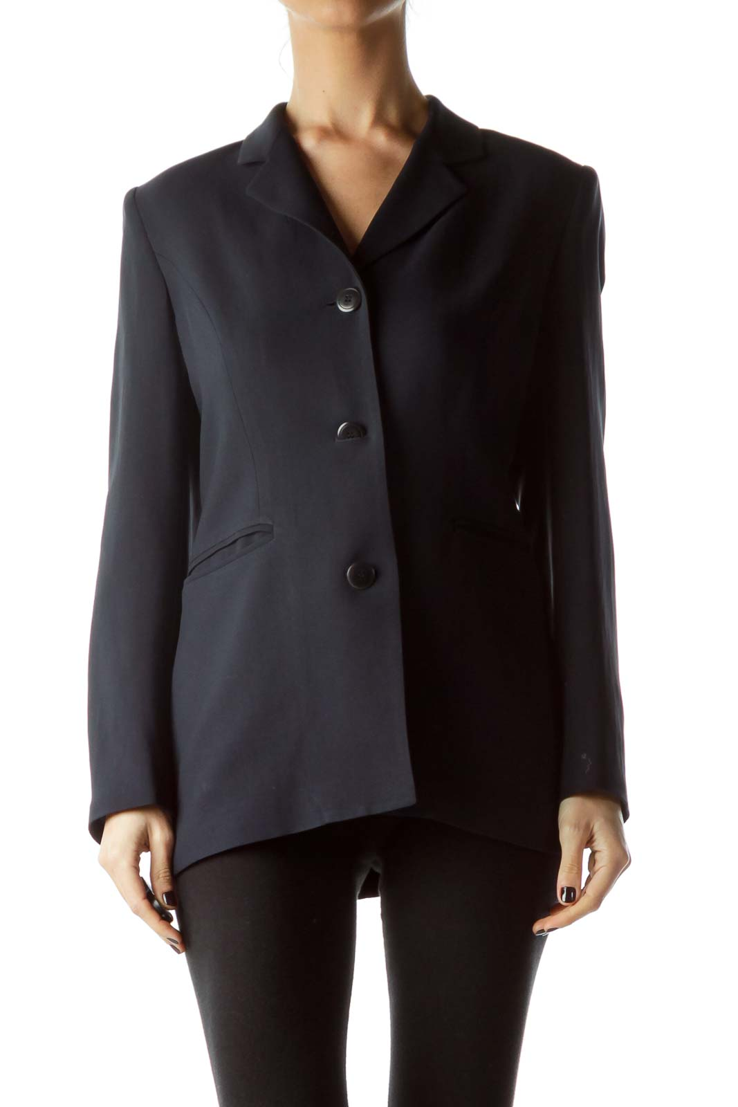 Navy Blue Buttoned Down Pocketed Blazer Front