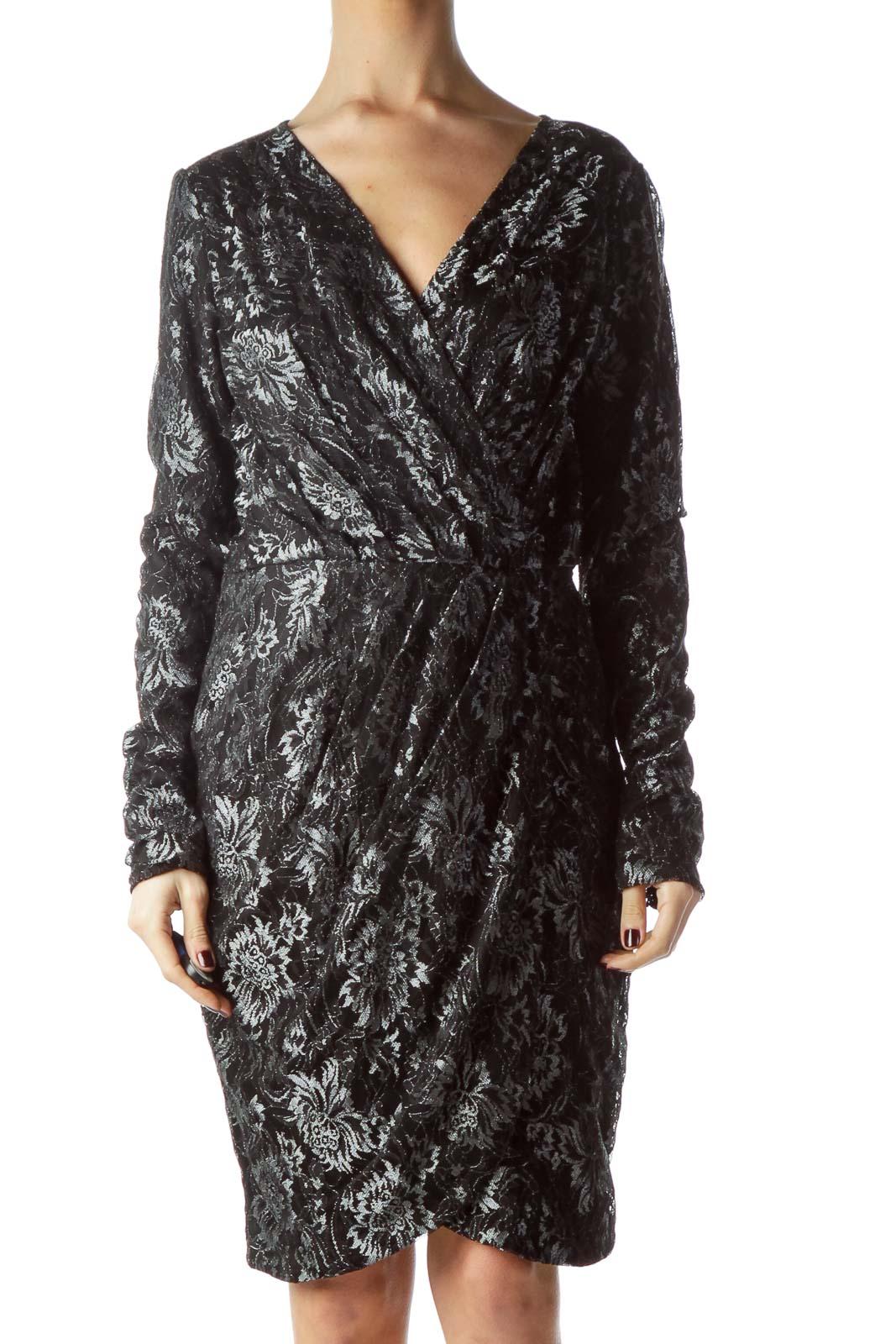 Black Silver Metallic Thread Lace Dress Front