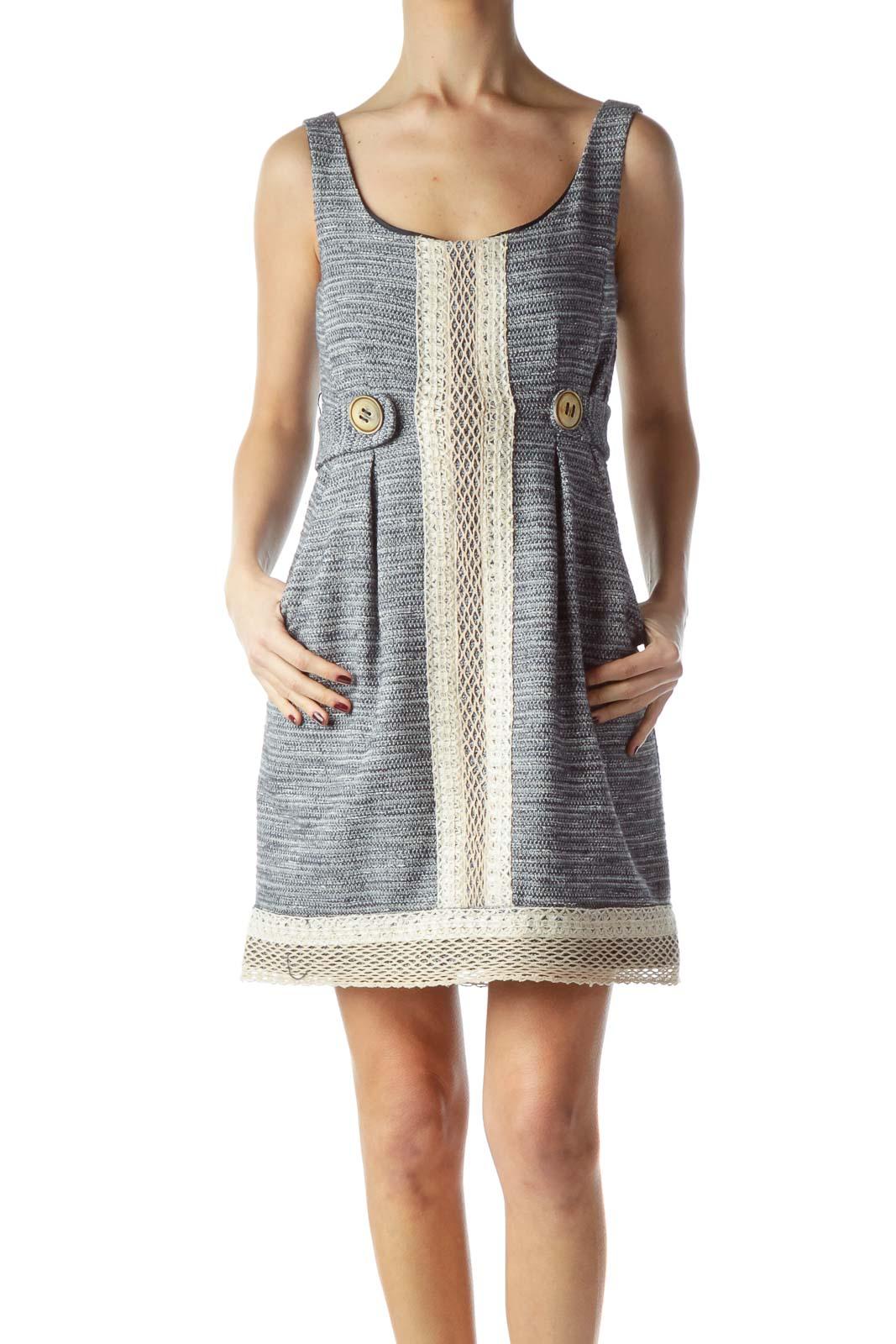 Black Beige Cream Knit Textured Dress Front