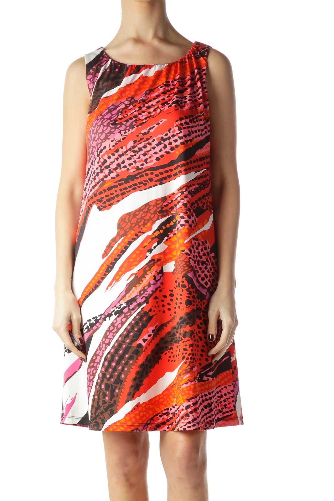 Multicolor Animal Print Sleeveless Dress Front