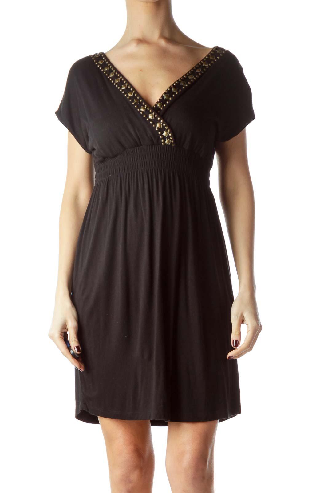 Black Neckline Embellished Stretch Dress Front