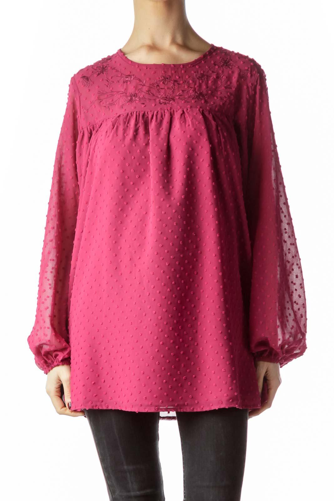 Magenta Pink Neckline Flower Embroidery Blouse Front
