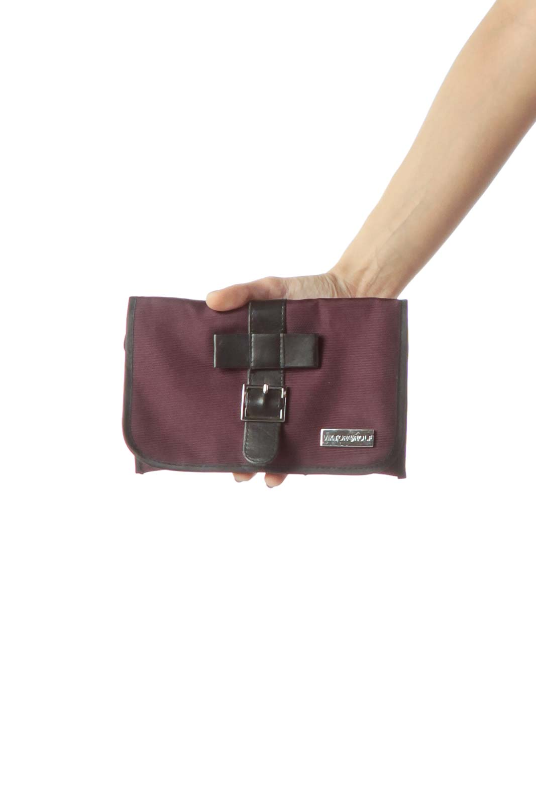 Purple Black Leather & Canvas Pouch Front
