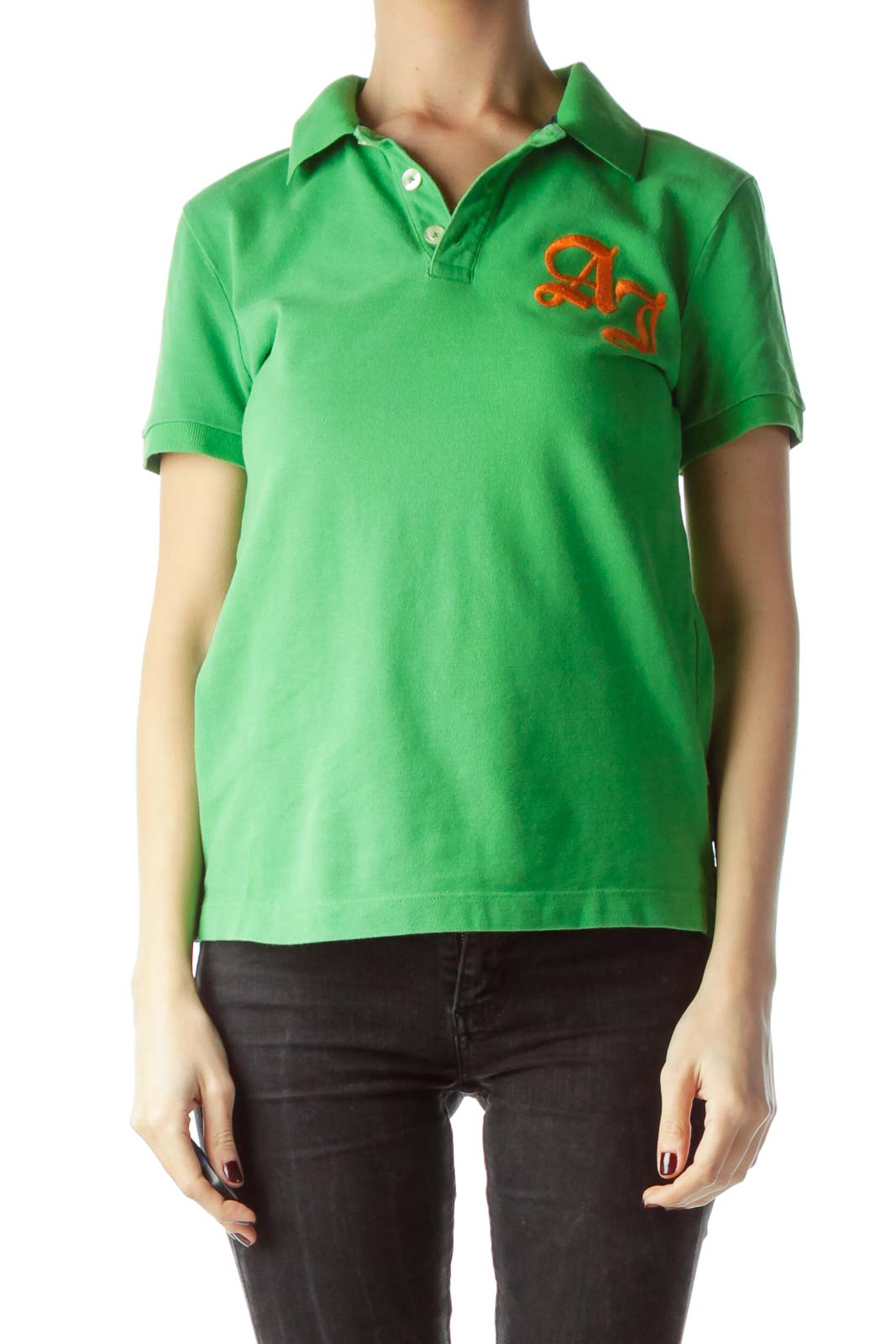 Green 100% Cotton Embroidered Logo Polo Shirt Front